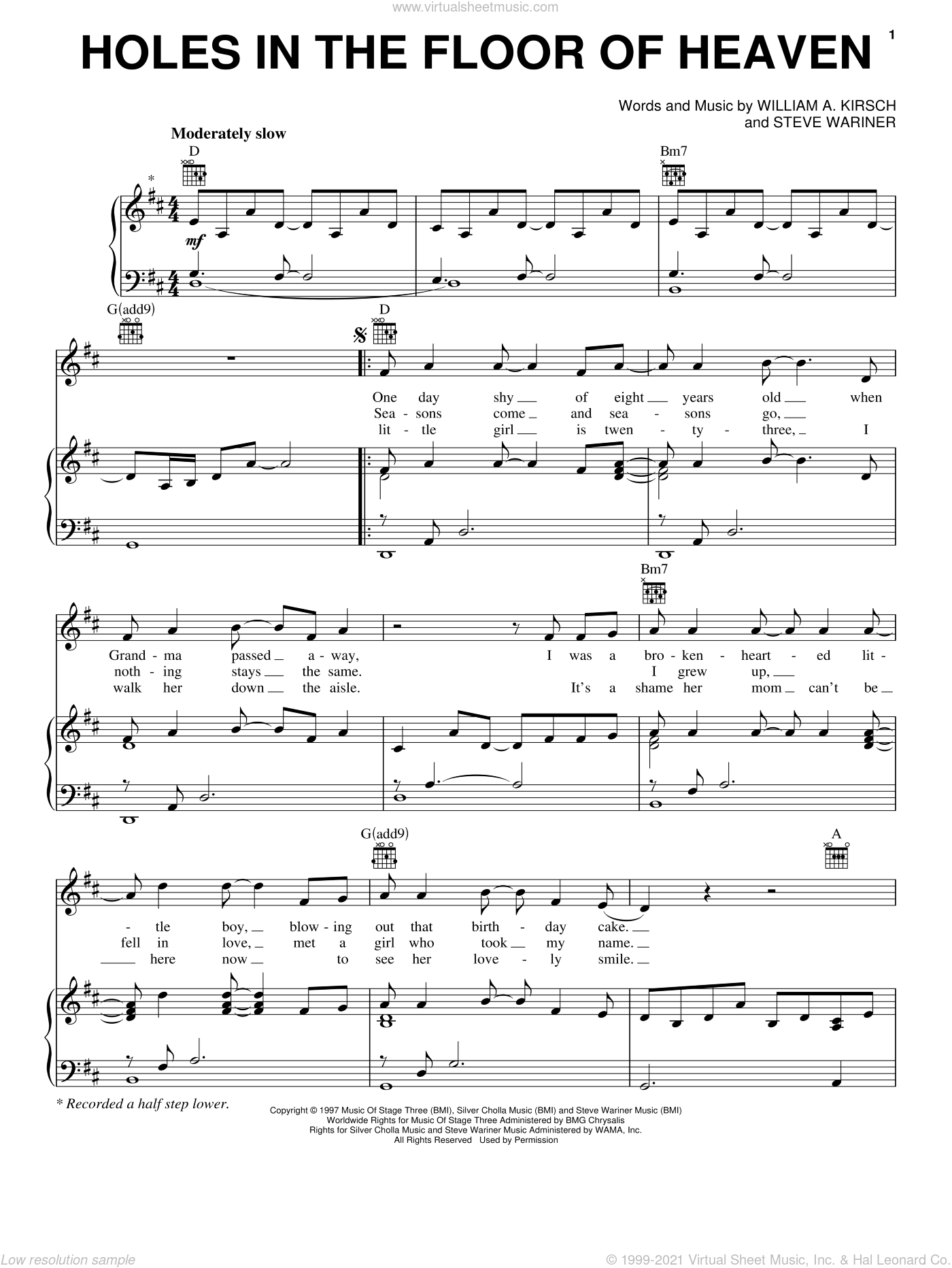 Holes In The Floor Of Heaven sheet music for voice, piano or guitar by Billy Kirsch and Steve Wariner. Score Image Preview.