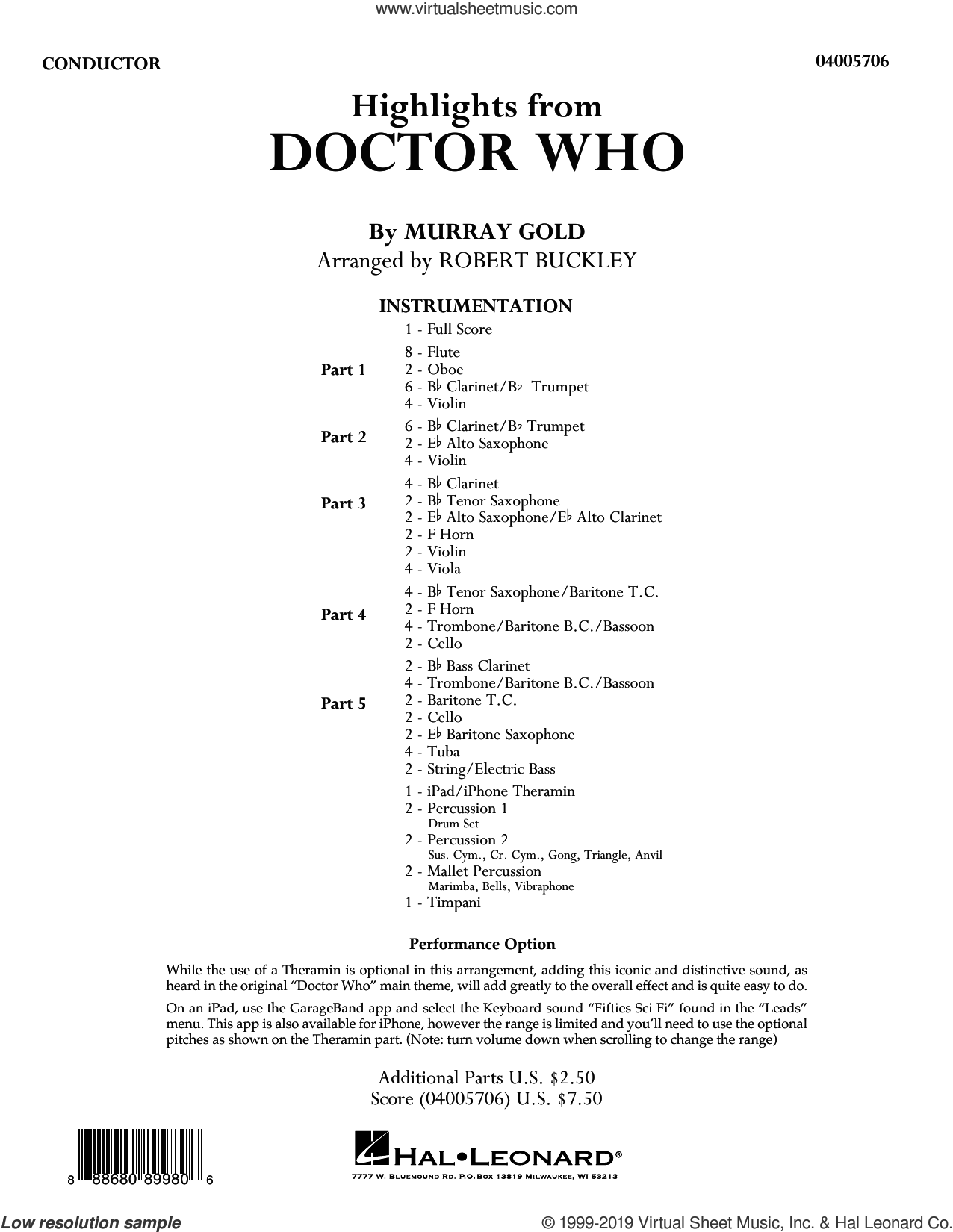 Highlights from Doctor Who (arr. Robert Buckley) (COMPLETE) sheet music for concert band by Robert Buckley and Murray Gold, intermediate skill level