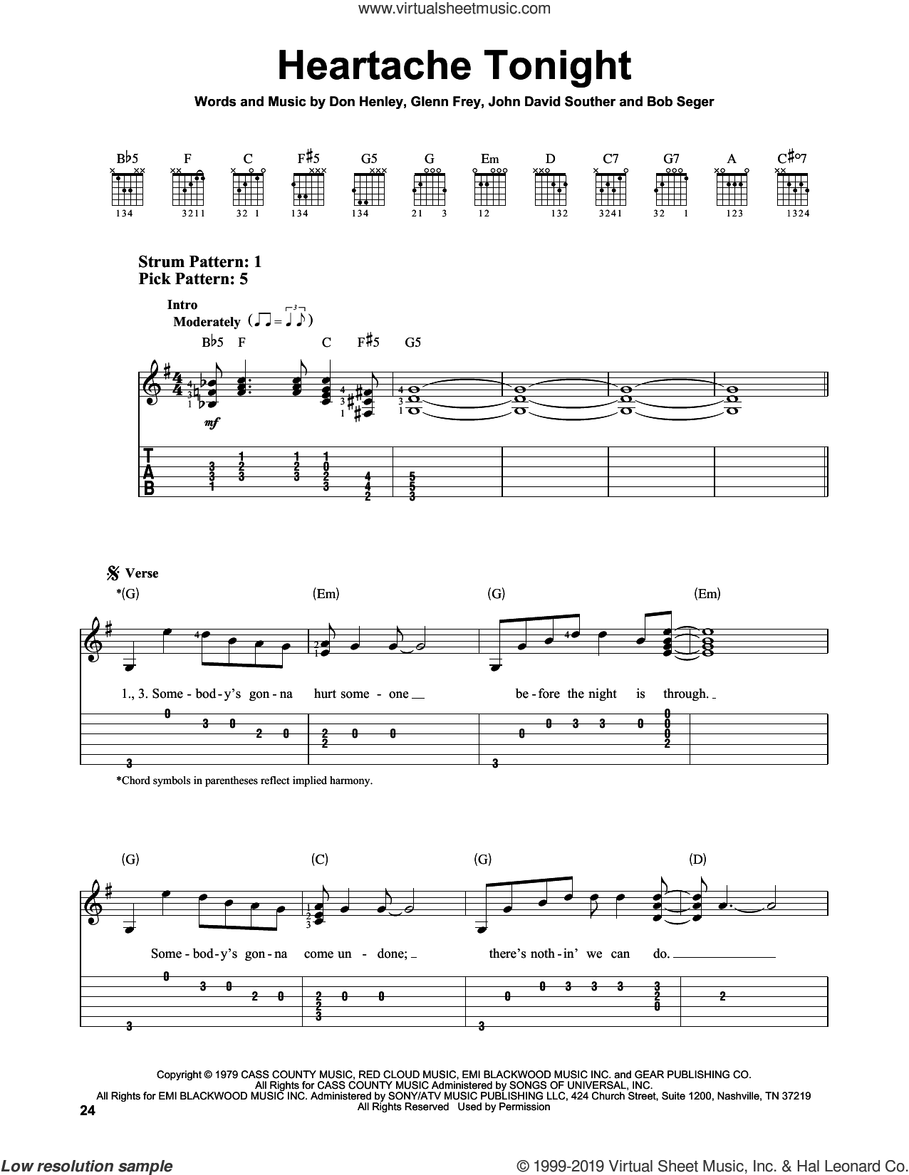 Heartache Tonight sheet music for guitar solo (easy tablature) by The Eagles, Bob Seger, Don Henley, Glenn Frey and John David Souther, easy guitar (easy tablature)
