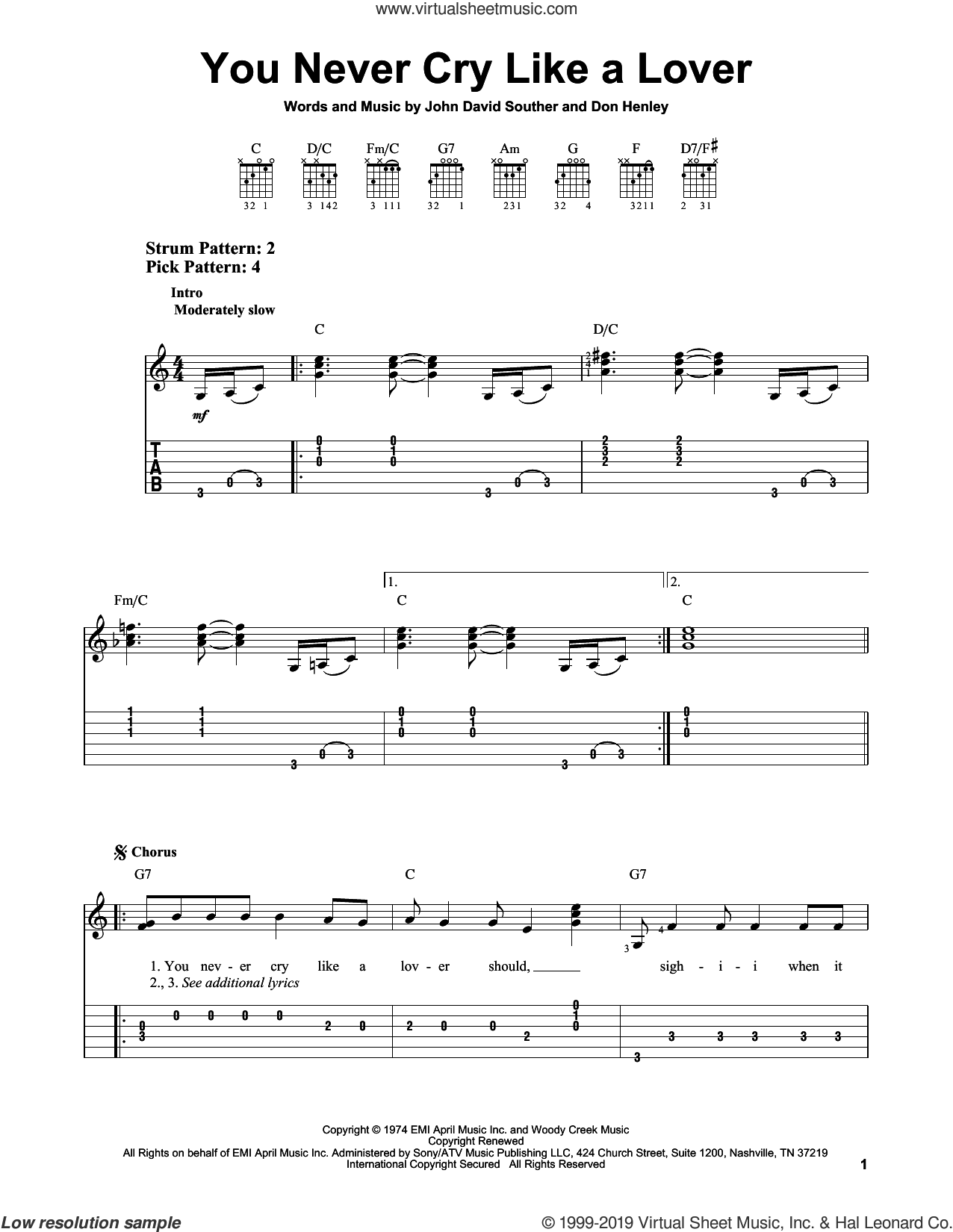 You Never Cry Like A Lover sheet music for guitar solo (easy tablature) by The Eagles, Don Henley and John David Souther, easy guitar (easy tablature)