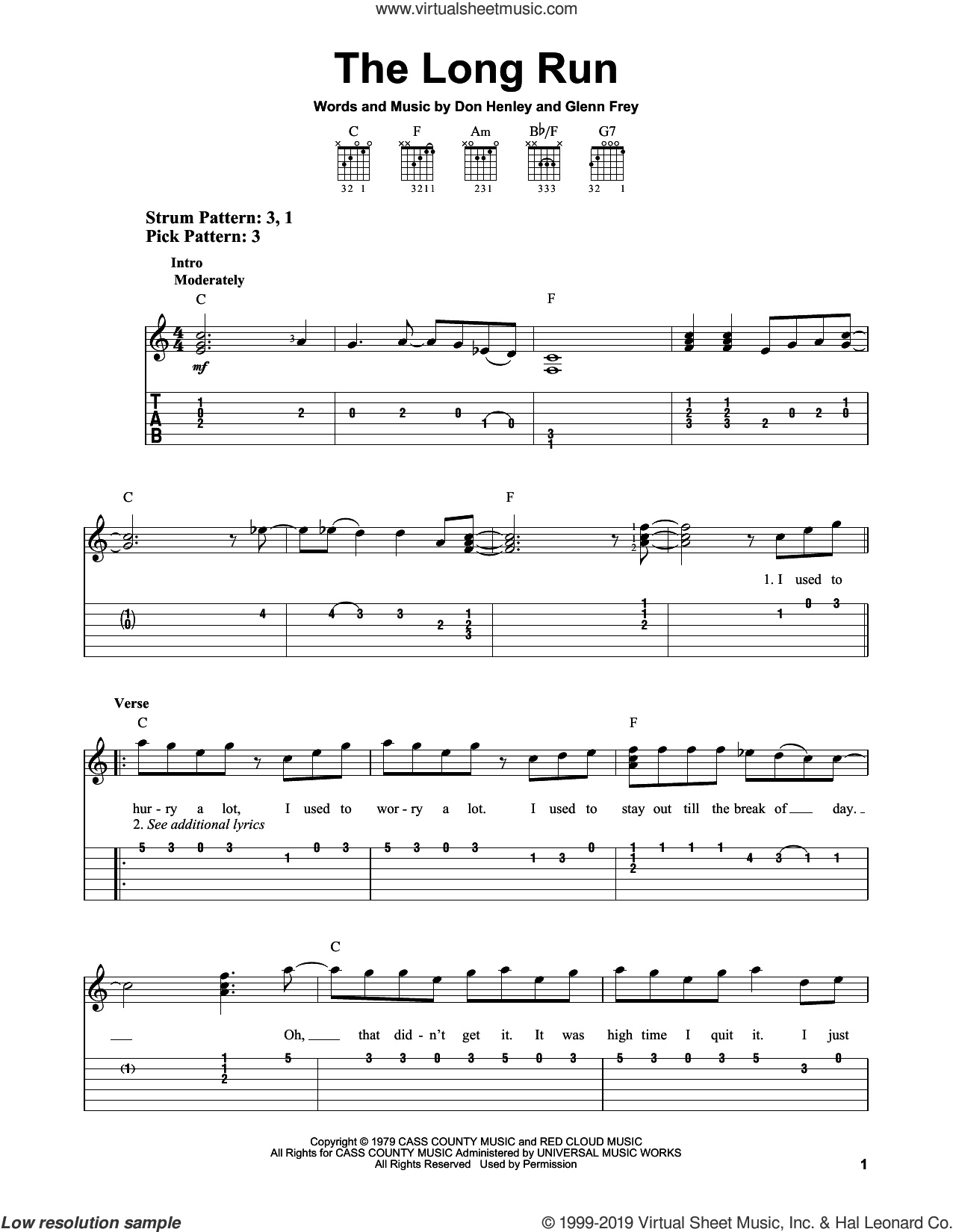 The Long Run sheet music for guitar solo (easy tablature) by The Eagles, Don Henley and Glenn Frey, easy guitar (easy tablature)