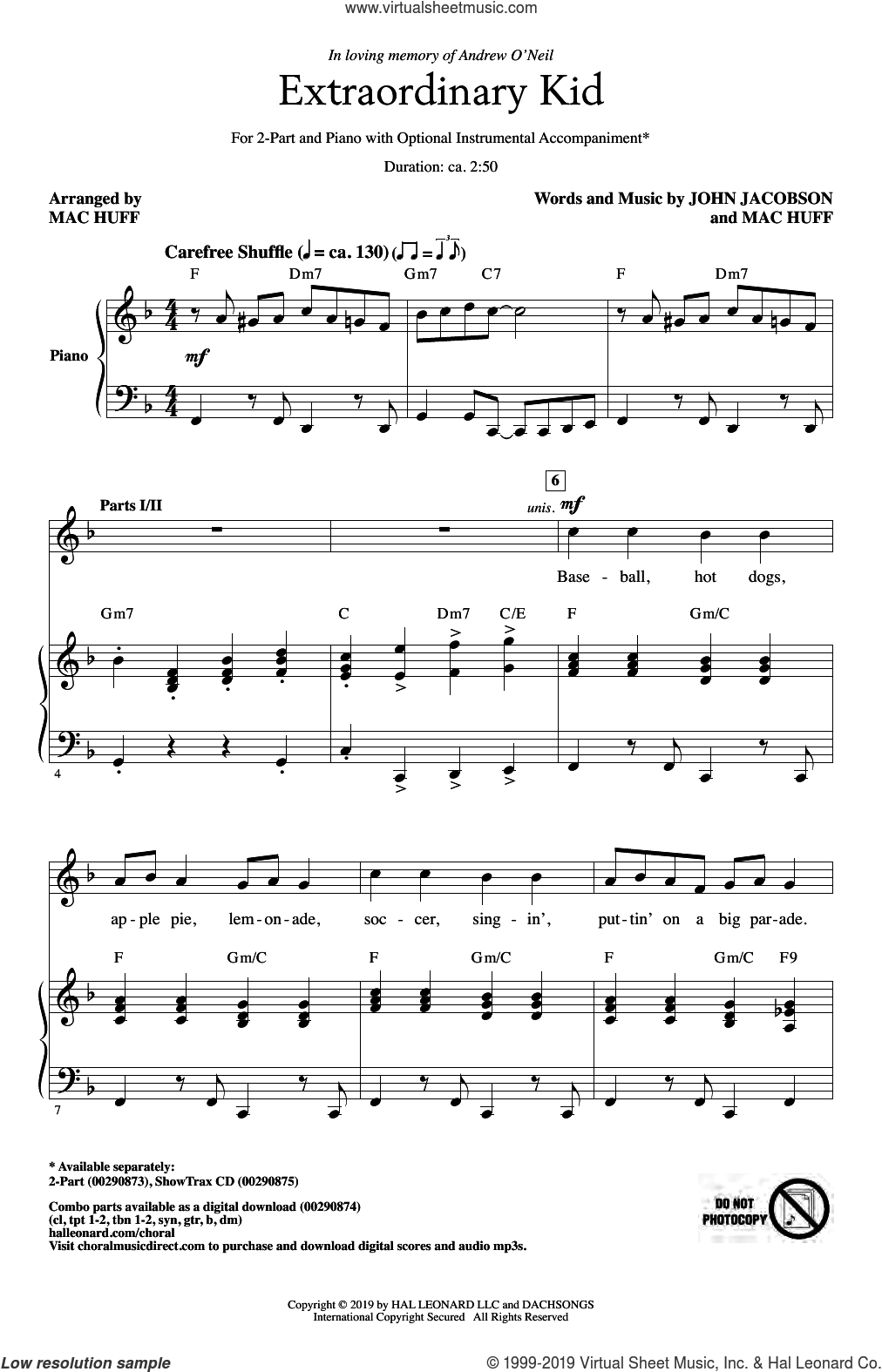 Extraordinary Kid sheet music for choir (2-Part) by Mac Huff, John Jacobson and John Jacobson & Mac Huff, intermediate duet