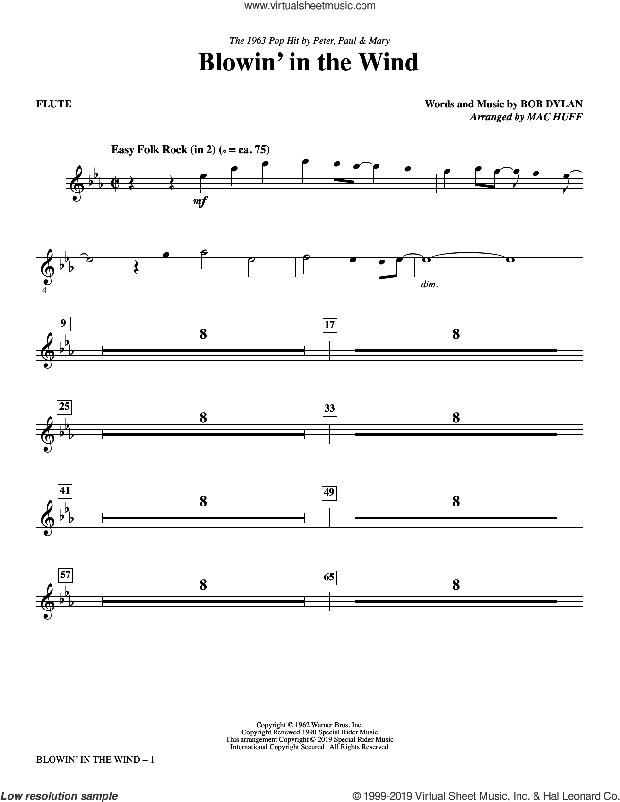 Blowin' in the Wind (arr. Mac Huff) (complete set of parts) sheet music for orchestra/band by Bob Dylan, Mac Huff, Peter, Paul & Mary and Stevie Wonder, intermediate skill level