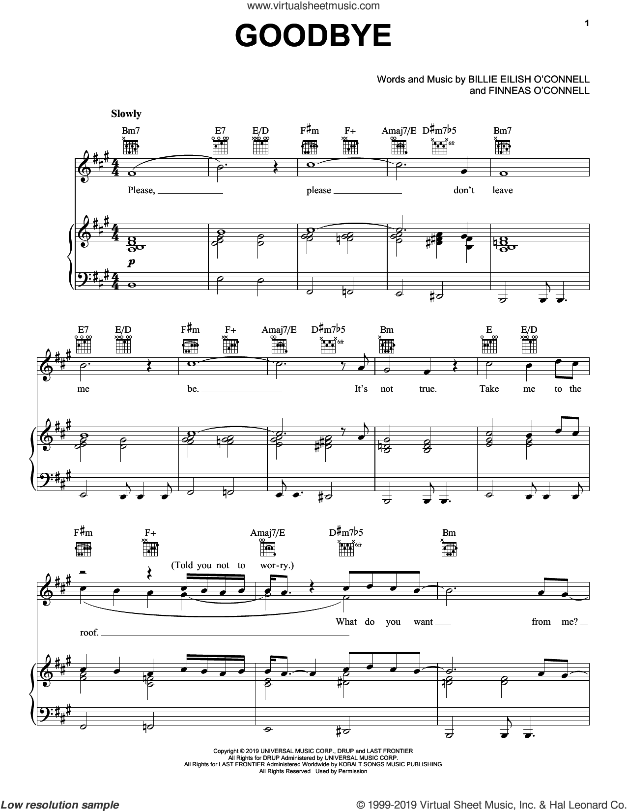 Goodbye sheet music for voice, piano or guitar by Billie Eilish, intermediate skill level