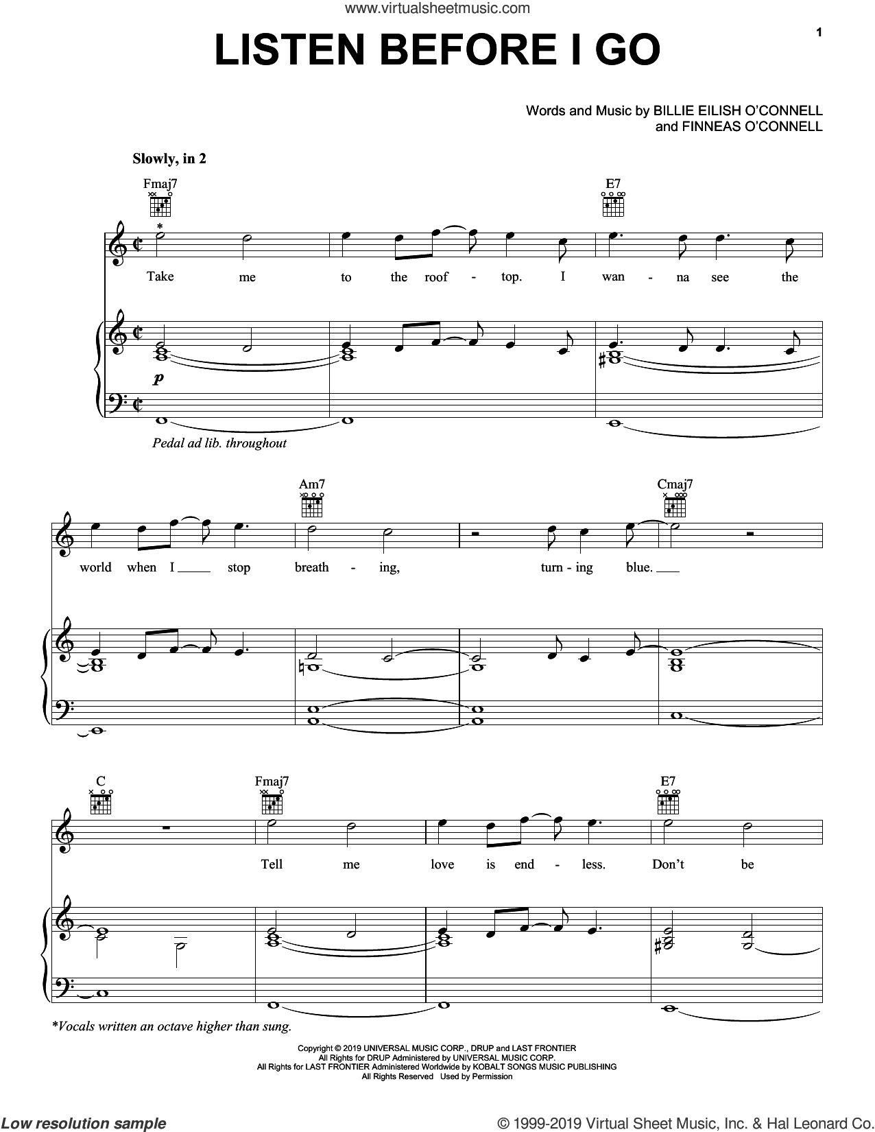 listen before i go sheet music for voice, piano or guitar by Billie Eilish, intermediate skill level