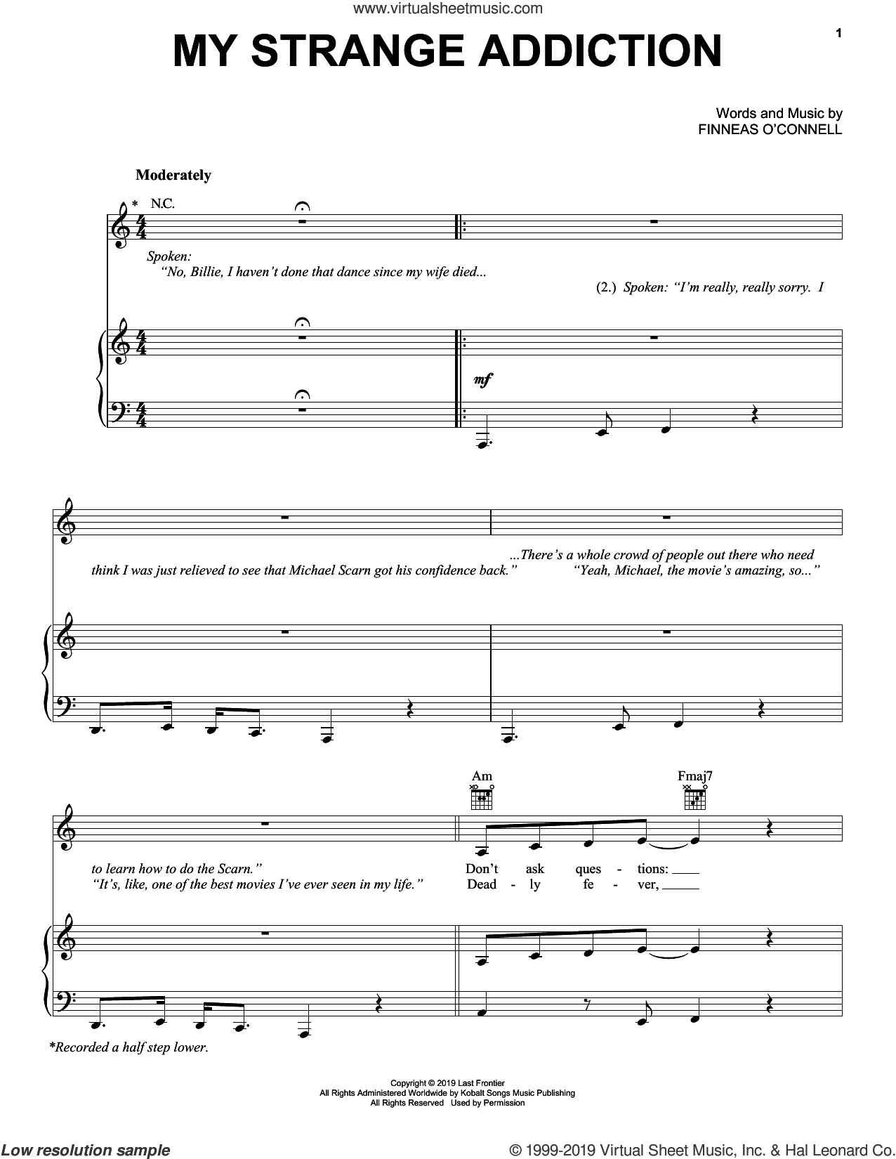 My Strange Addiction sheet music for voice, piano or guitar by Billie Eilish, intermediate skill level