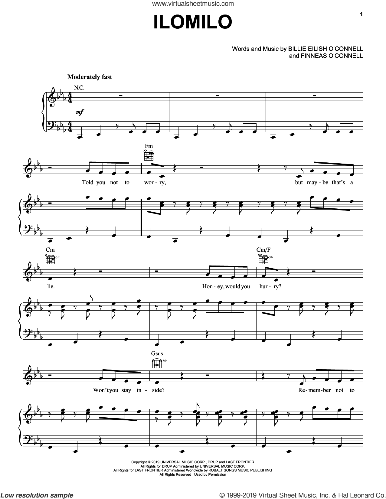 ilomilo sheet music for voice, piano or guitar by Billie Eilish, intermediate skill level