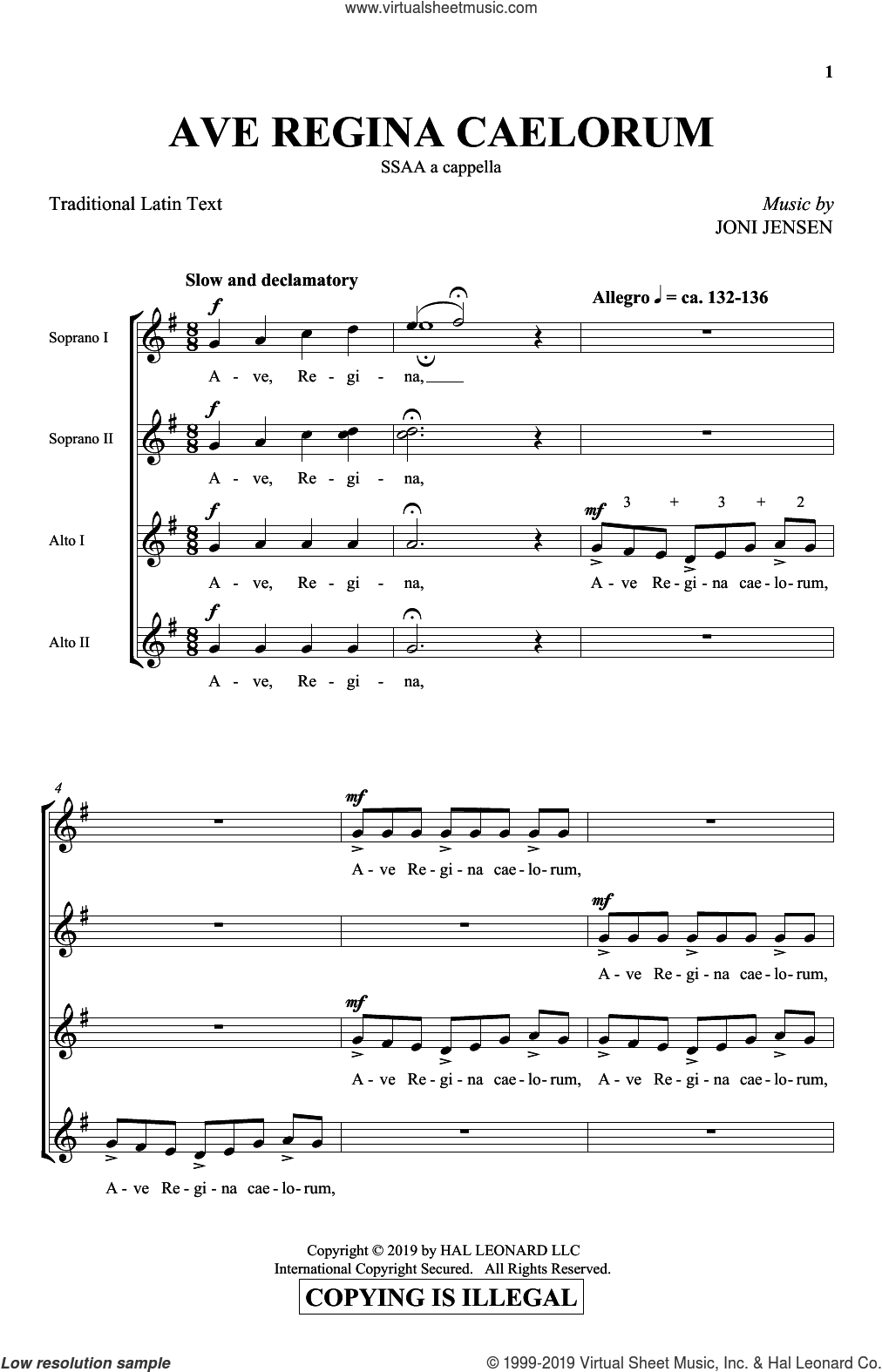 Ave Regina Caelorum sheet music for choir (SSA: soprano, alto) by Joni Jensen and Miscellaneous, intermediate skill level