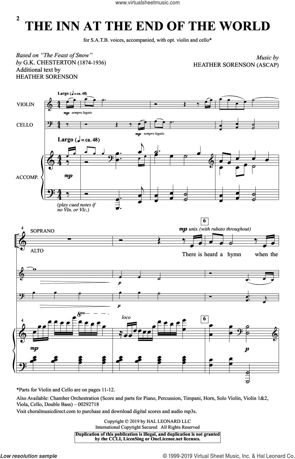 The Inn At The End Of The World (arr. Heather Sorenson) sheet music for choir (SATB: soprano, alto, tenor, bass) by Heather Sorenson and Gilbert Keith Chesterton, intermediate skill level