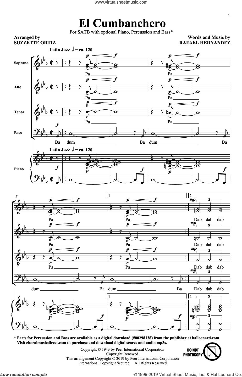 El Cumbanchero (arr. Suzette Ortiz) sheet music for choir (SATB: soprano, alto, tenor, bass) by Rafael Hernandez and Suzzette Ortiz, intermediate skill level