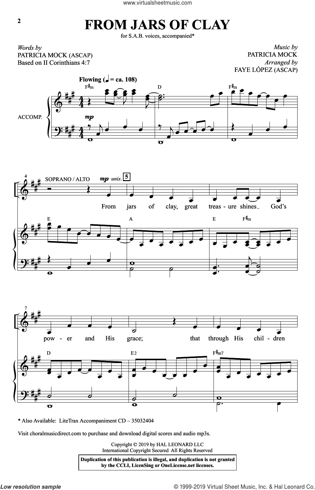 From Jars Of Clay (arr. Faye Lopez) sheet music for choir (SAB: soprano, alto, bass) by Patricia Mock and Faye Lopez, intermediate skill level