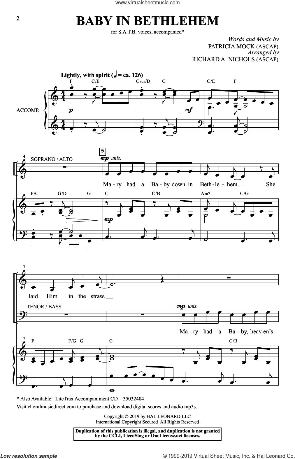 Baby In Bethlehem (arr. Richard A. Nichols) sheet music for choir (SATB: soprano, alto, tenor, bass) by Patricia Mock and Richard A. Nichols, intermediate skill level
