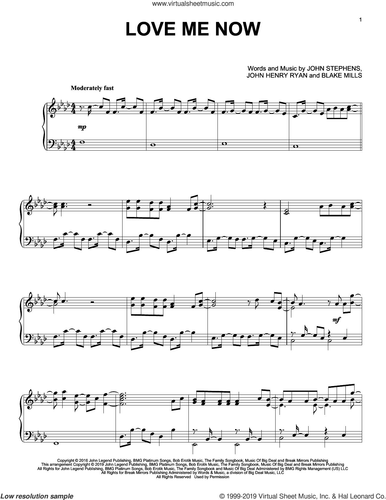 Love Me Now sheet music for piano solo by John Legend, Blake Mills, John Henry Ryan and John Stephens, intermediate skill level