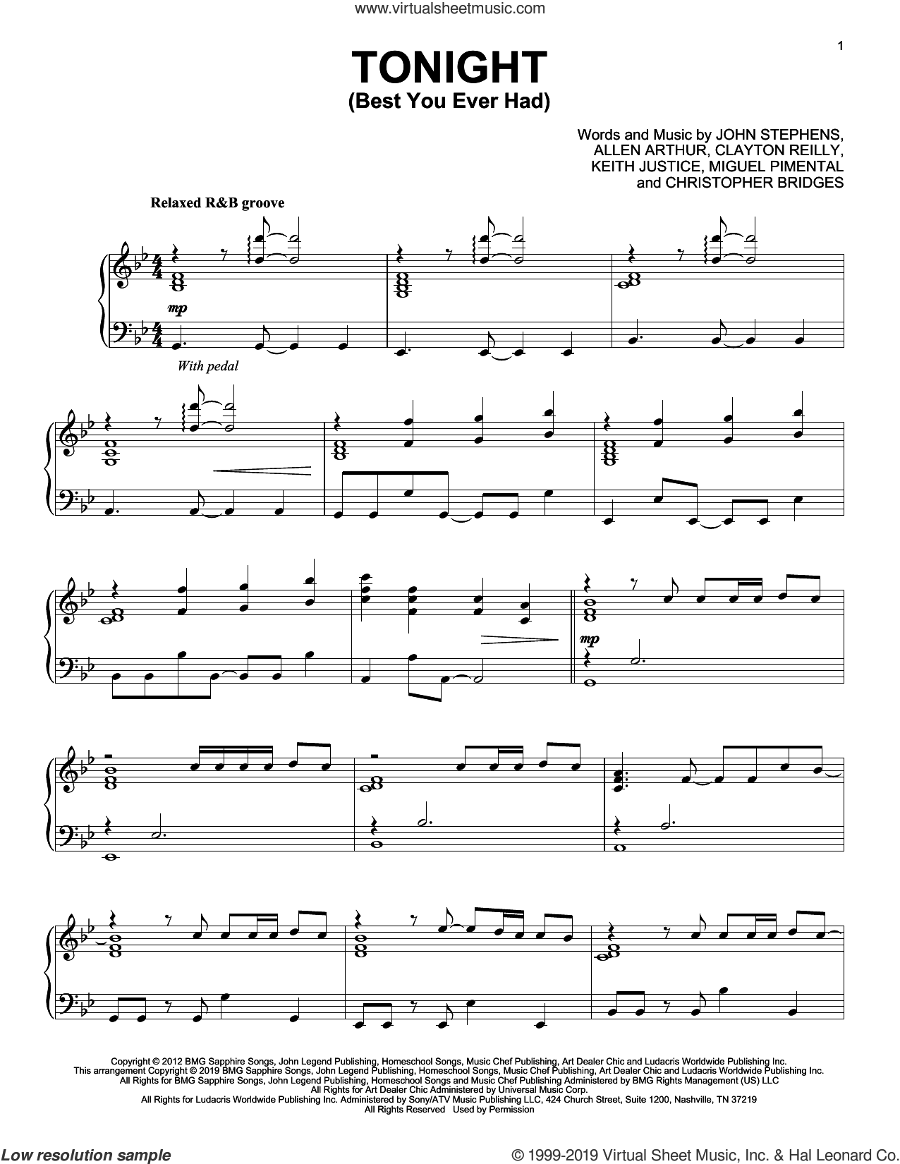 Tonight (Best You Ever Had) (feat. Ludacris) (from Think Like a Man) sheet music for piano solo by John Legend, Allen Arthur, Christopher Bridges, Clayton Reilly, John Stephens, Keith Justice and Miguel Pimental, intermediate skill level