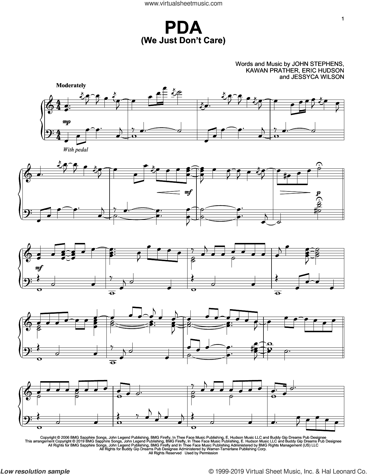 PDA (We Just Don't Care) sheet music for piano solo by John Legend, Eric Hudson, Jessyca Wilson, John Stephens and Kawan Prather, intermediate skill level