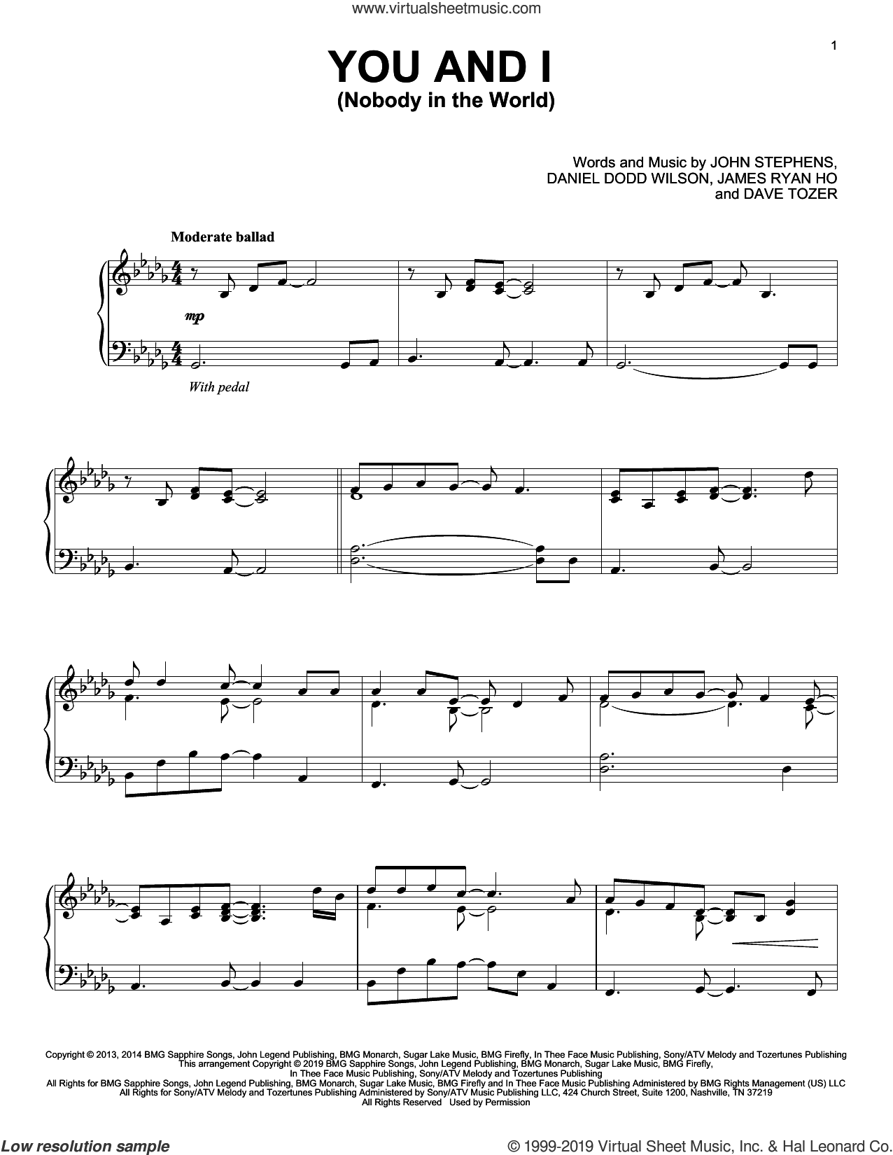 You And I (Nobody In The World) sheet music for piano solo by John Legend, Daniel Dodd Wilson, Dave Tozer, James Ryan Ho and John Stephens, intermediate skill level