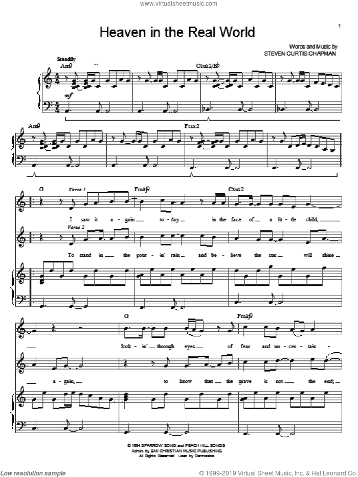 Heaven In The Real World sheet music for voice and piano by Steven Curtis Chapman, intermediate. Score Image Preview.