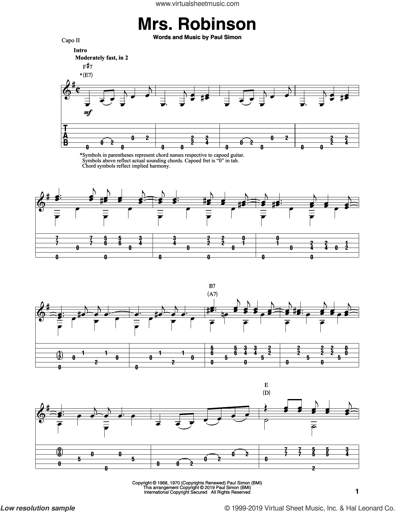 Mrs. Robinson (arr. Bill LaFleur) sheet music for guitar solo by Simon & Garfunkel, Bill LaFleur and Paul Simon, intermediate skill level