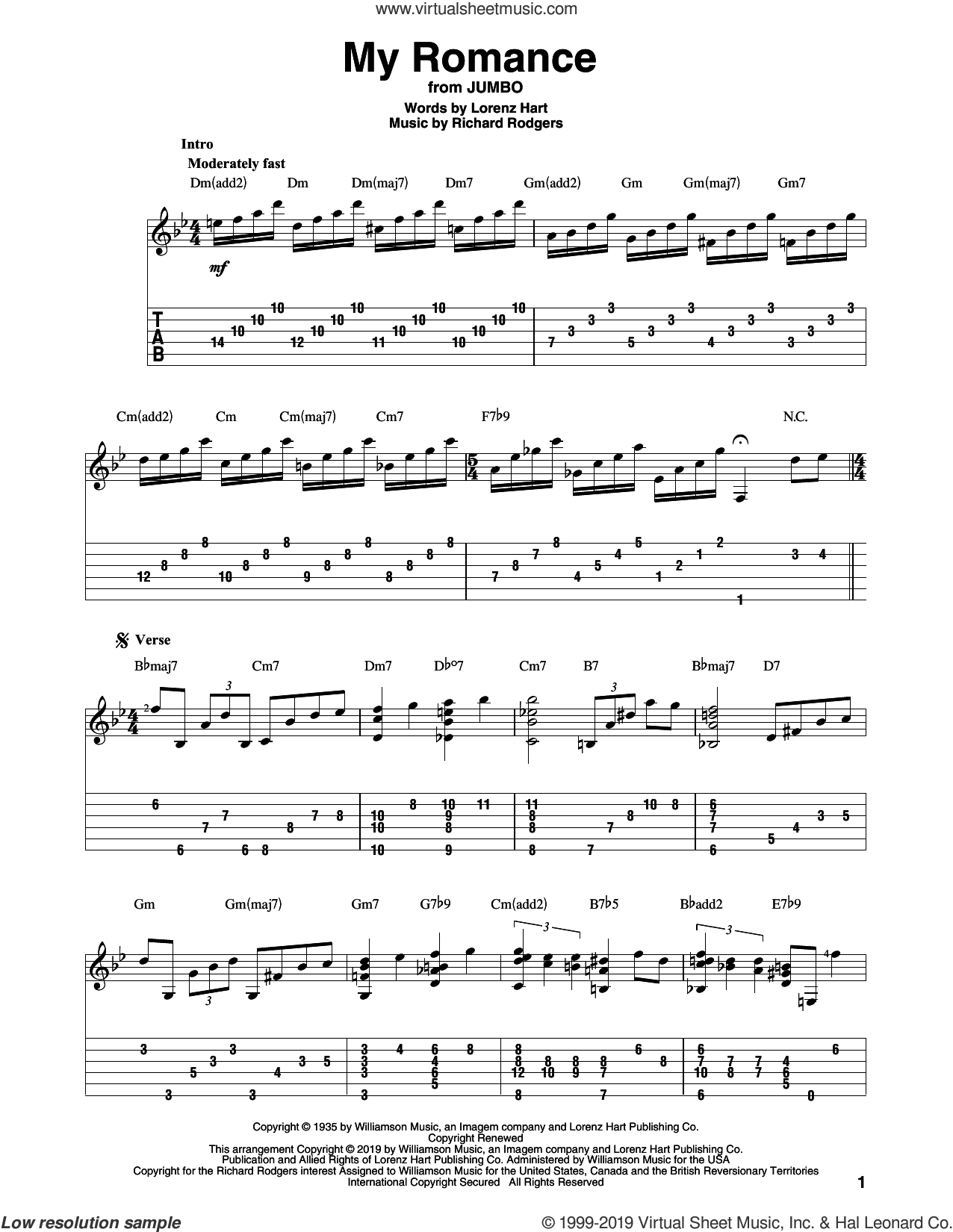 My Romance (arr. Bill LaFleur) sheet music for guitar solo by Richard Rodgers, Bill LaFleur, Lorenz Hart and Rodgers & Hart, intermediate skill level