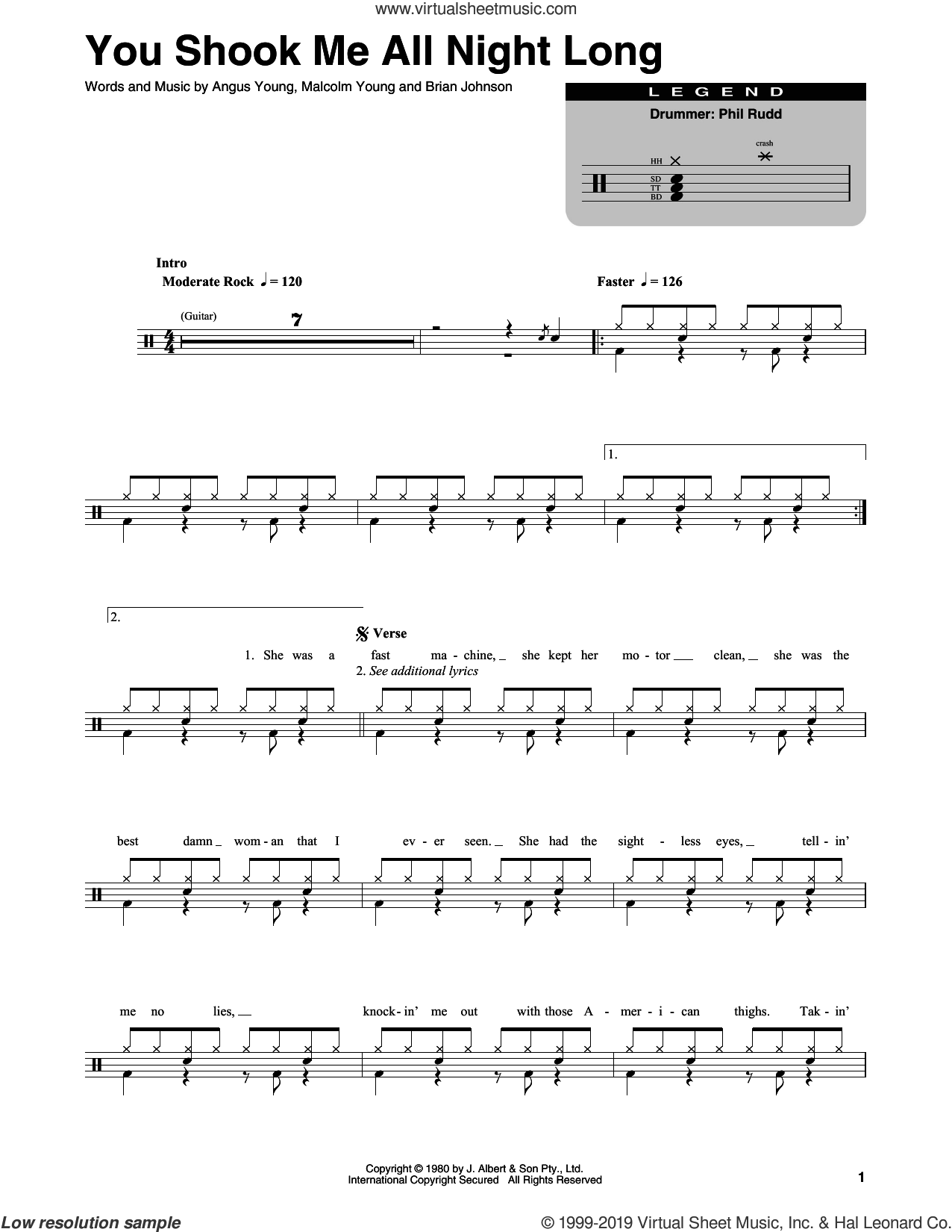 You Shook Me All Night Long sheet music for drums by AC/DC, Angus Young, Brian Johnson and Malcolm Young, intermediate skill level