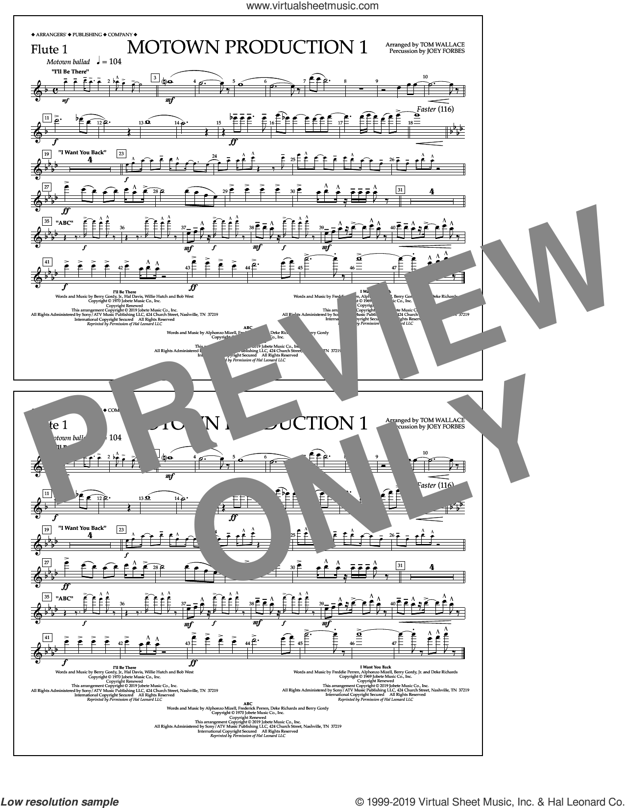 Motown Production 1(arr. Tom Wallace) sheet music for marching band (flute 1) by Jackson 5, Tom Wallace and Michael Jackson, intermediate skill level