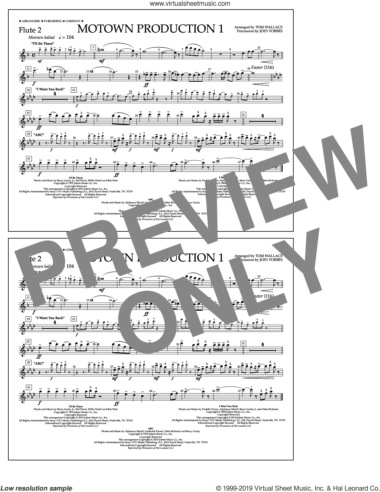 Motown Production 1(arr. Tom Wallace) sheet music for marching band (flute 2) by Jackson 5, Tom Wallace and Michael Jackson, intermediate skill level