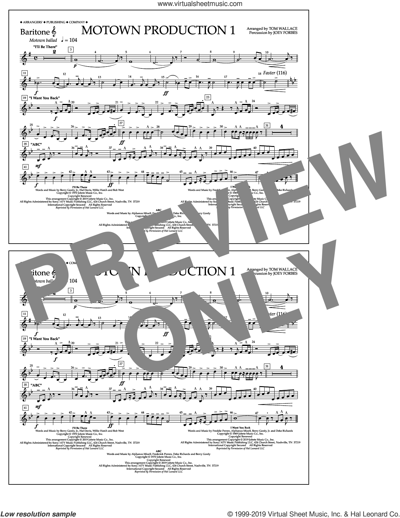 Motown Production 1(arr. Tom Wallace) sheet music for marching band (baritone t.c.) by Jackson 5, Tom Wallace and Michael Jackson, intermediate skill level