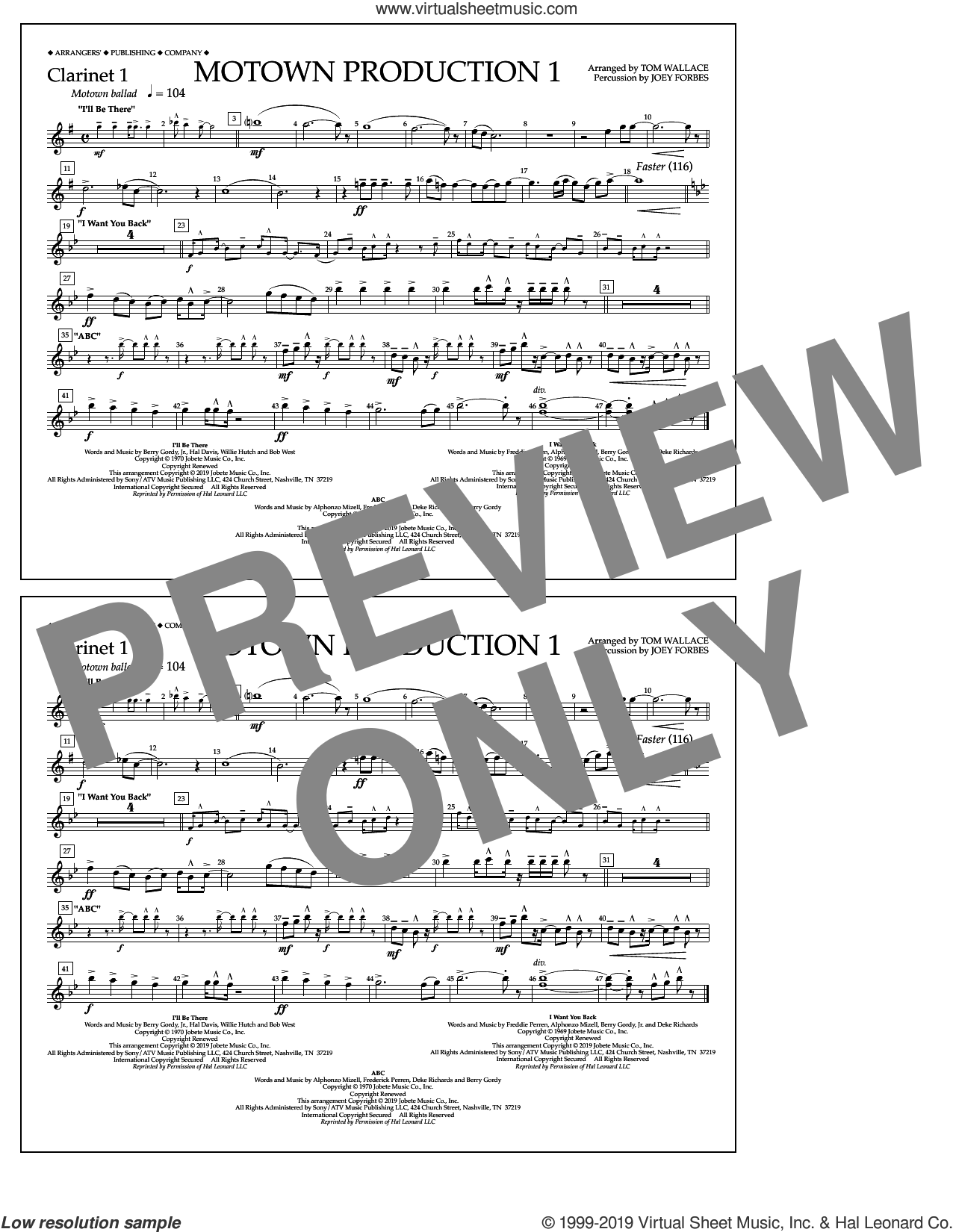 Motown Production 1(arr. Tom Wallace) sheet music for marching band (clarinet 1) by Jackson 5, Tom Wallace and Michael Jackson, intermediate skill level