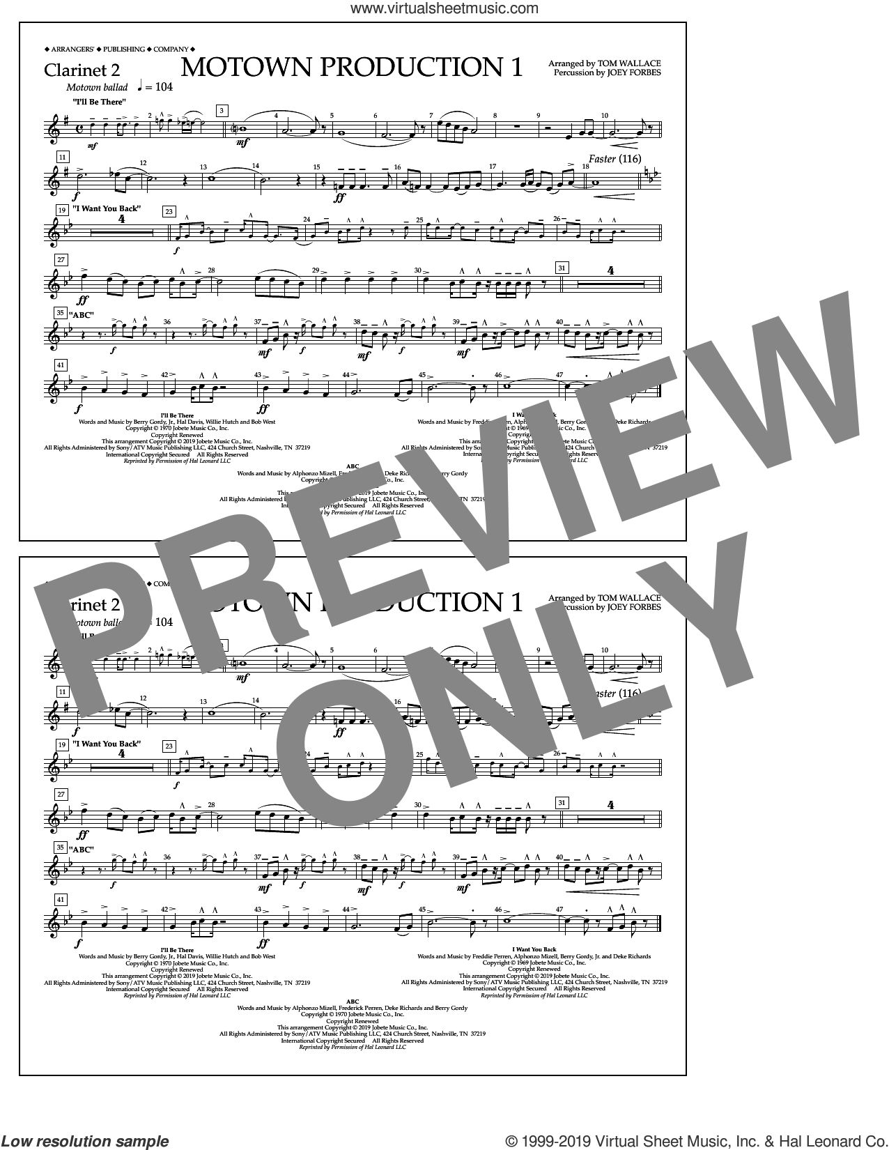 Motown Production 1(arr. Tom Wallace) sheet music for marching band (clarinet 2) by Jackson 5, Tom Wallace and Michael Jackson, intermediate skill level
