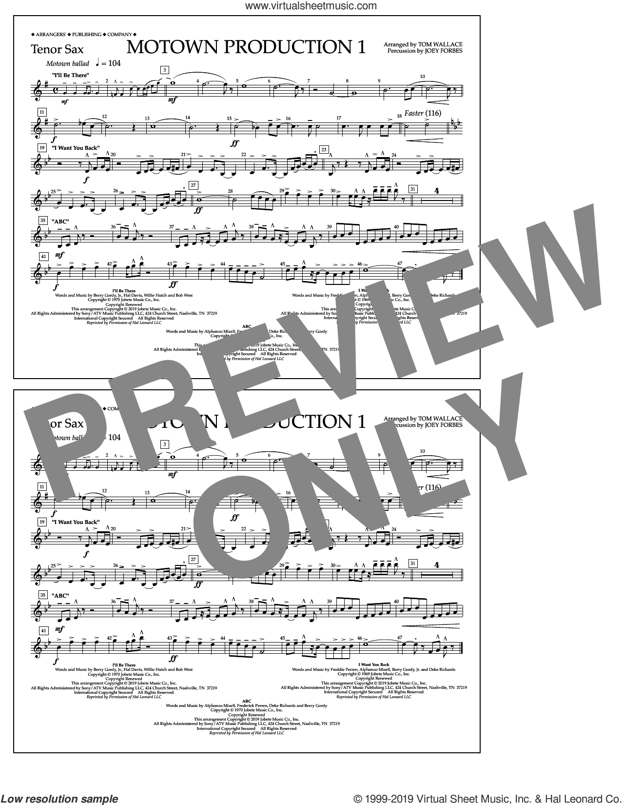 Motown Production 1(arr. Tom Wallace) sheet music for marching band (tenor sax) by Jackson 5, Tom Wallace and Michael Jackson, intermediate skill level