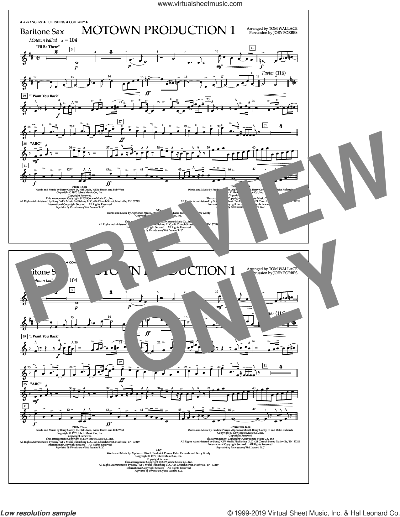Motown Production 1(arr. Tom Wallace) sheet music for marching band (baritone sax) by Jackson 5, Tom Wallace and Michael Jackson, intermediate skill level