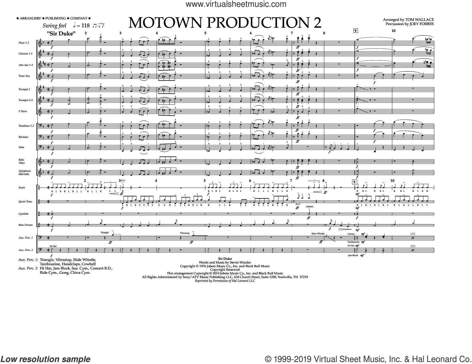 Motown Production 2 (arr. Tom Wallace) (COMPLETE) sheet music for marching band by Stevie Wonder and Tom Wallace, intermediate skill level