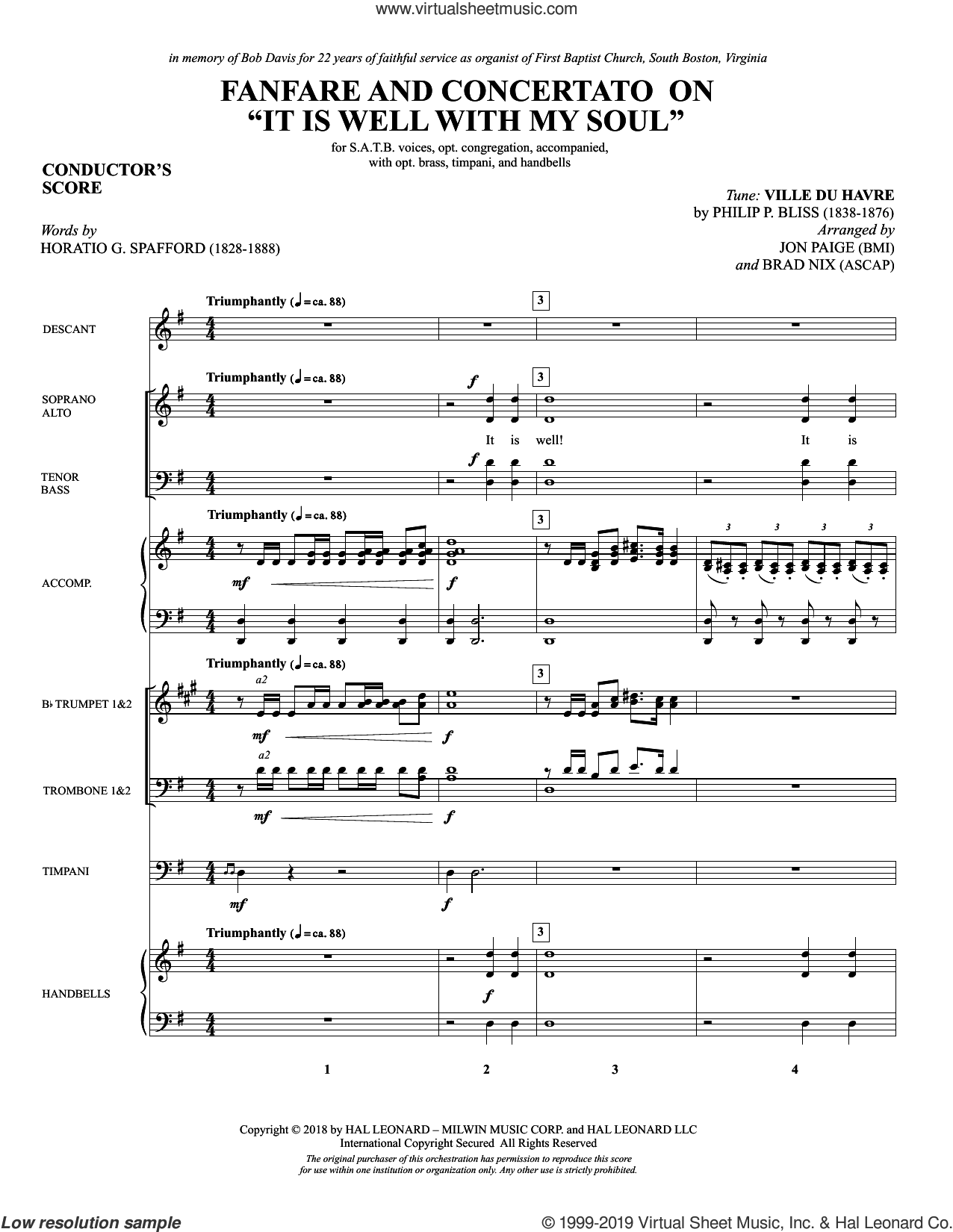 Fanfare and Concertato on 'It Is Well with My Soul' (Brass and Timpani) (COMPLETE) sheet music for orchestra/band by Philip P. Bliss, Horatio Spafford and Jon Paige & Brad Nix, intermediate skill level