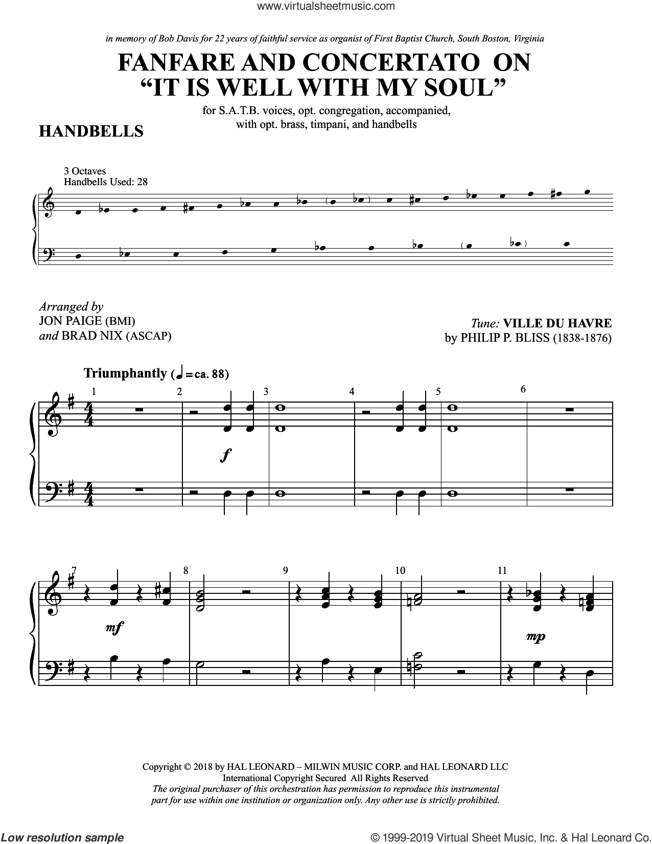 Fanfare and Concertato on 'It Is Well with My Soul' sheet music for orchestra/band (handbells) by Philip P. Bliss, Brad Nix, Jon Paige, Jon Paige & Brad Nix and Horatio Spafford, intermediate skill level