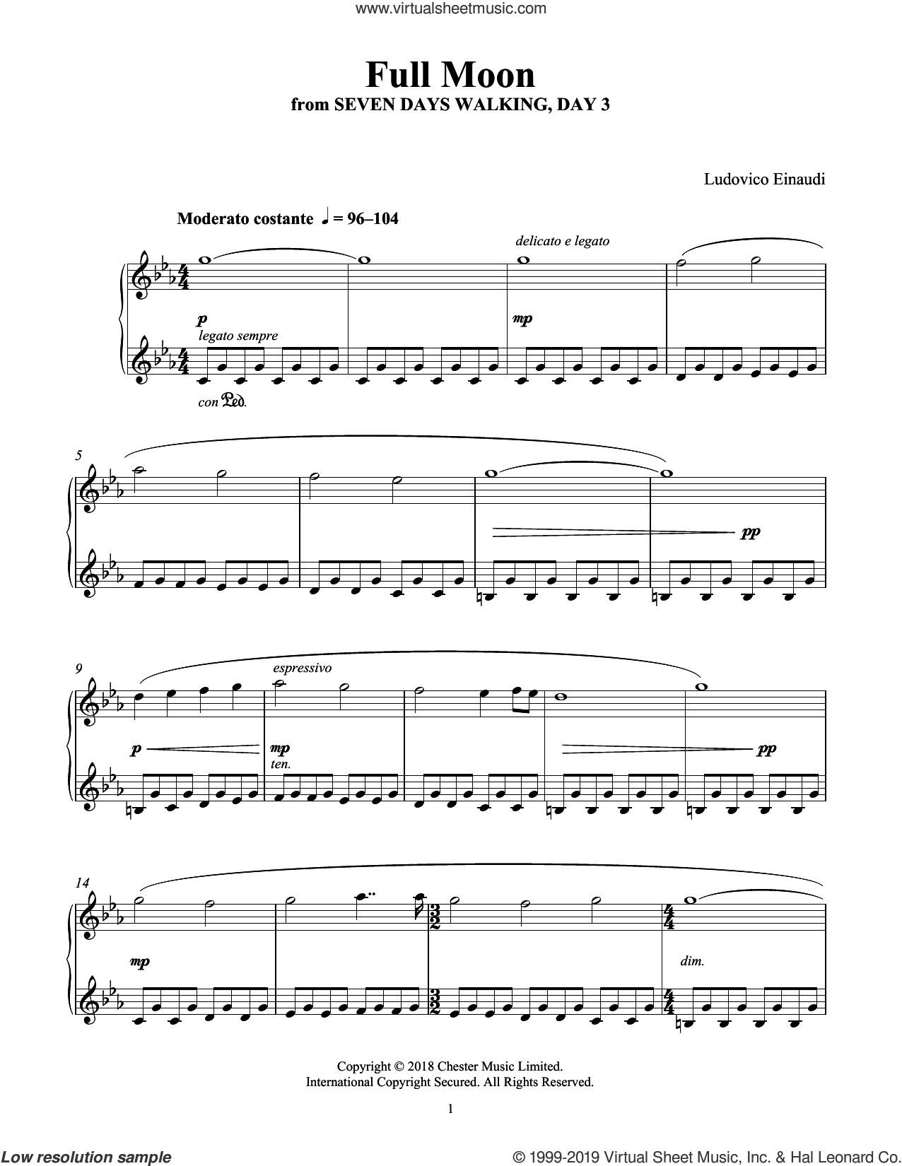 Full Moon (from Seven Days Walking: Day 3) sheet music for piano solo by Ludovico Einaudi, classical score, intermediate skill level
