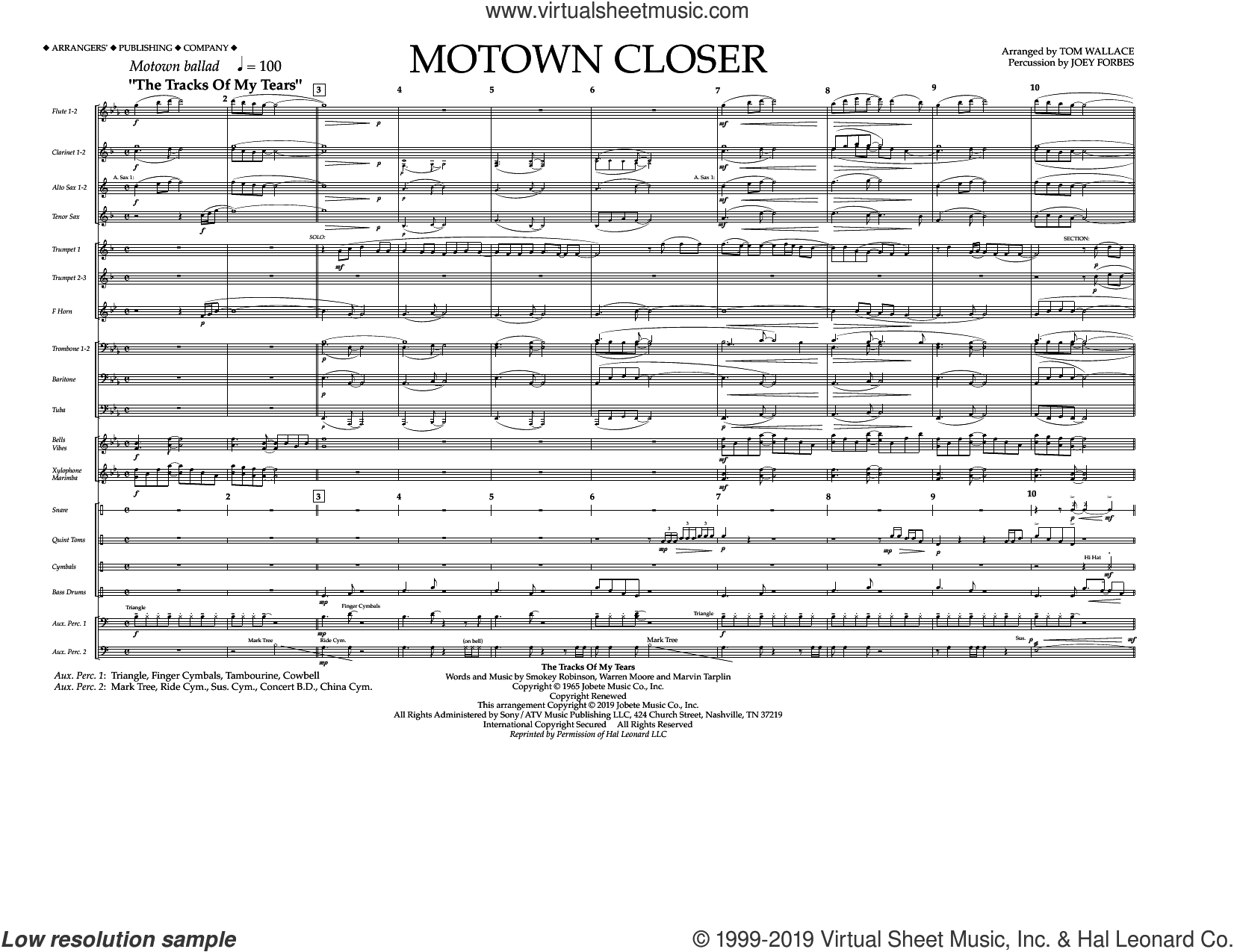 Motown Closer (arr. Tom Wallace) (COMPLETE) sheet music for marching band by Linda Ronstadt, Marvin Tarplin, The Miracles, Tom Wallace and Warren Moore, intermediate skill level