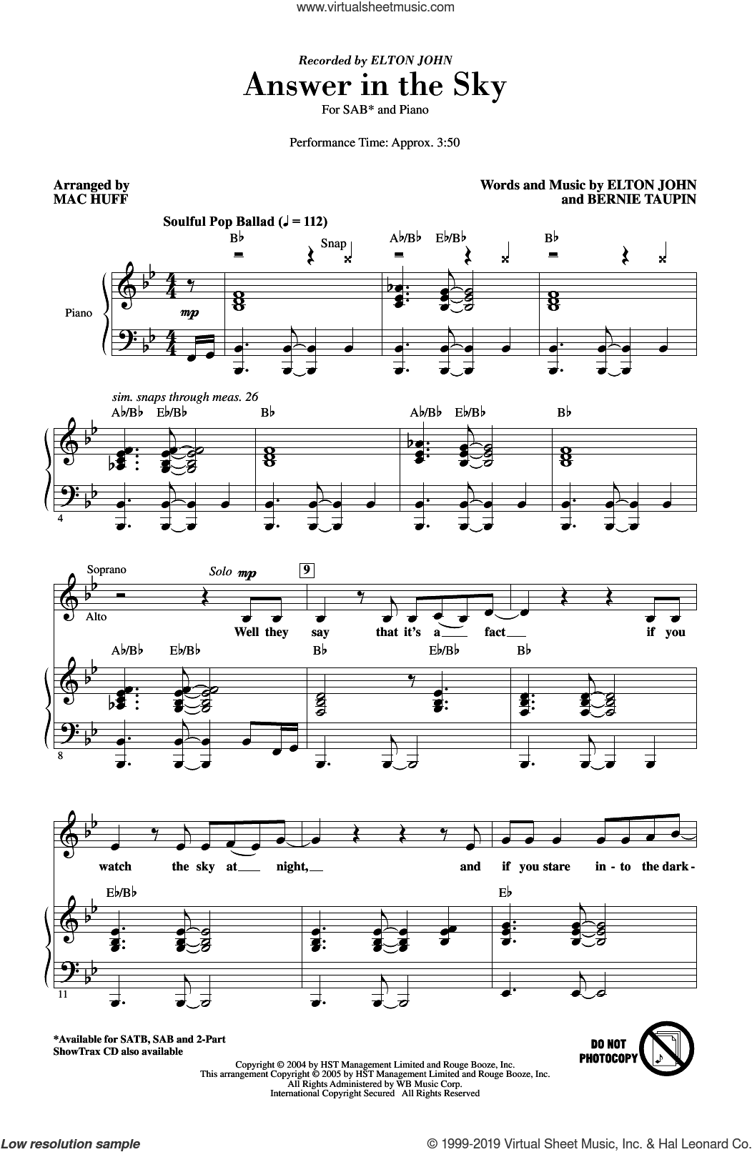 Answer In The Sky (arr. Mac Huff) sheet music for choir (SAB: soprano, alto, bass) by Elton John, Mac Huff and Bernie Taupin, intermediate skill level