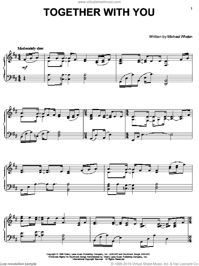 Together With You sheet music for piano solo by Michael Whalen, intermediate skill level