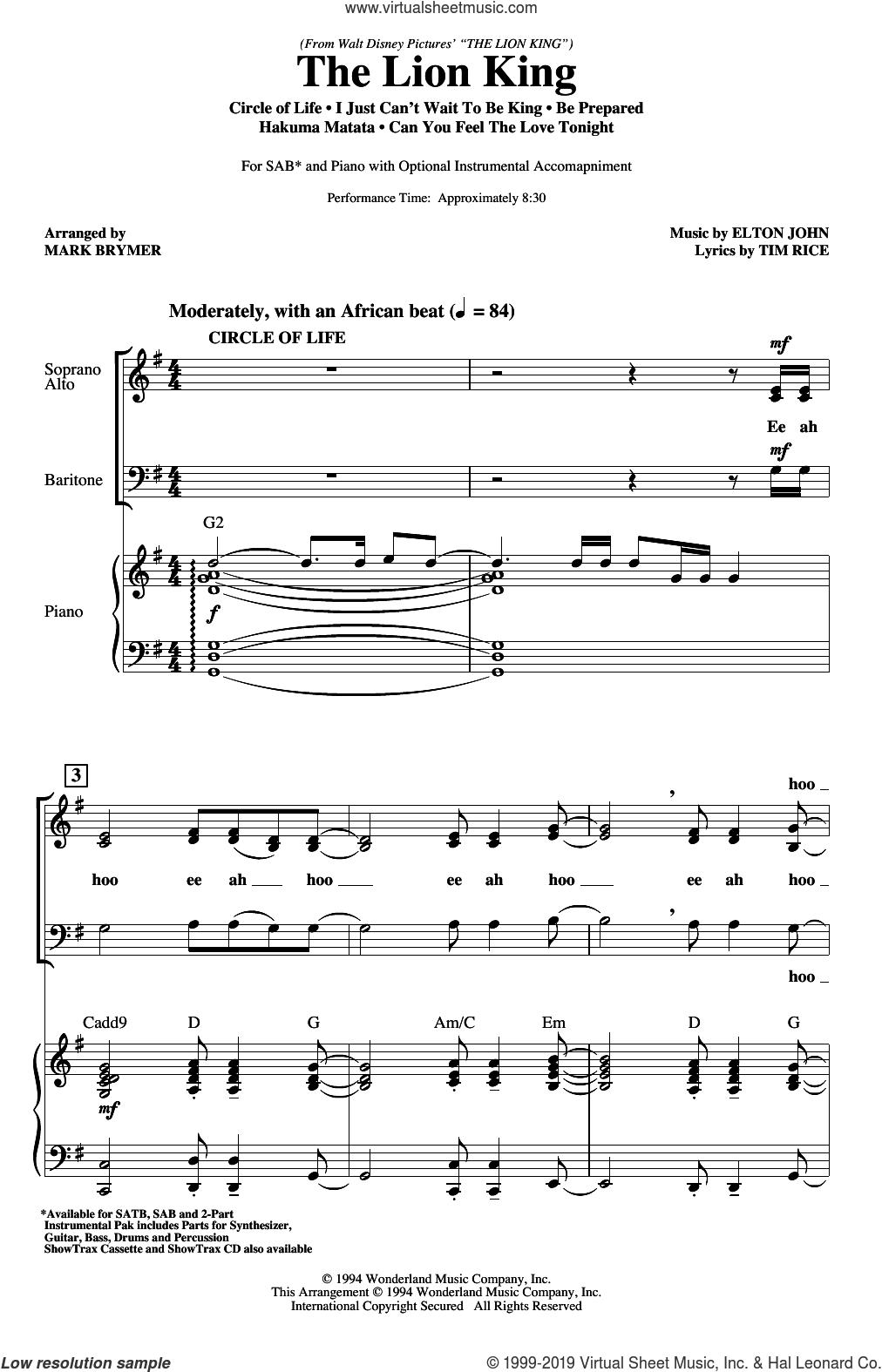 The Lion King (Medley) (arr. Mark Brymer) sheet music for choir (SAB: soprano, alto, bass) by Elton John, Mark Brymer, Elton John & Tim Rice and Tim Rice, intermediate skill level