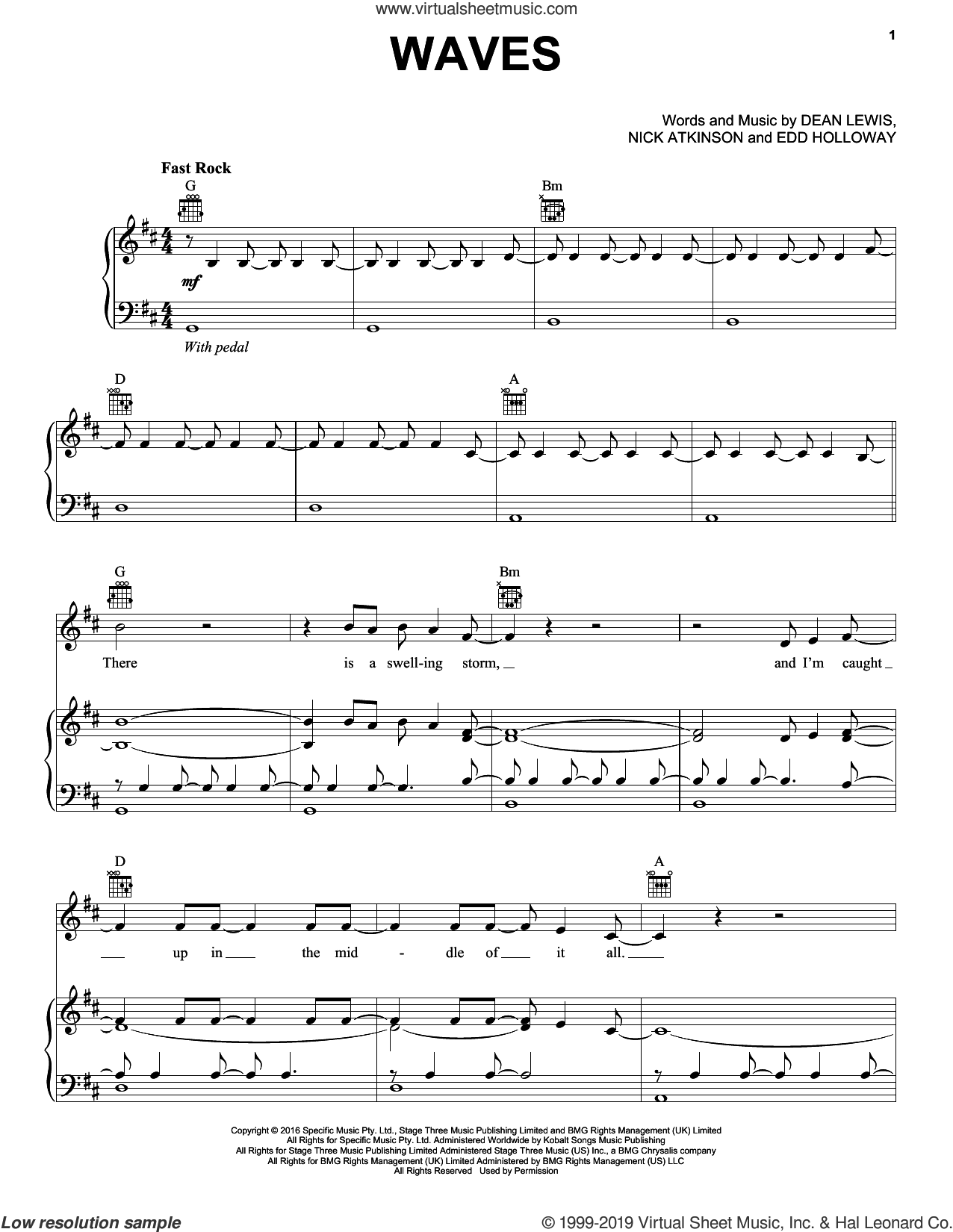 Waves sheet music for voice, piano or guitar by Dean Lewis, Edd Holloway and Nick Atkinson, intermediate skill level