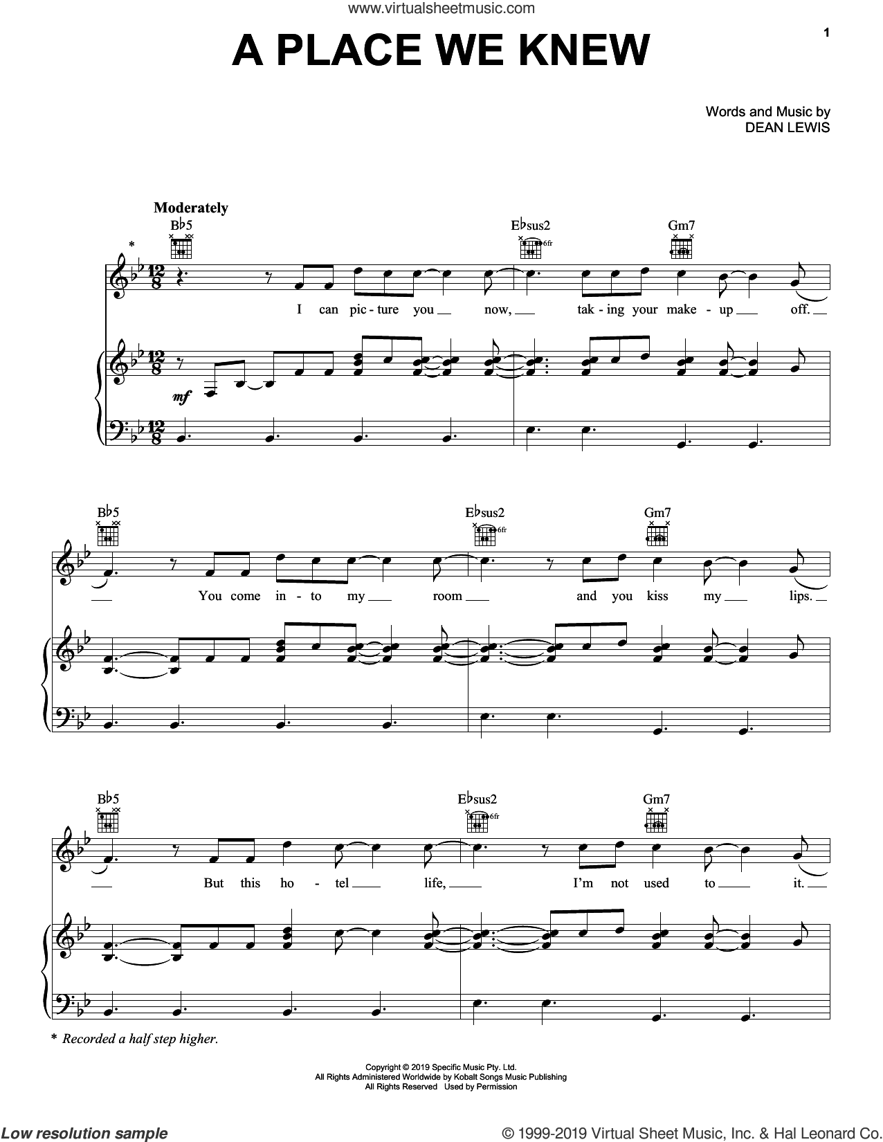 A Place We Knew sheet music for voice, piano or guitar by Dean Lewis, intermediate skill level