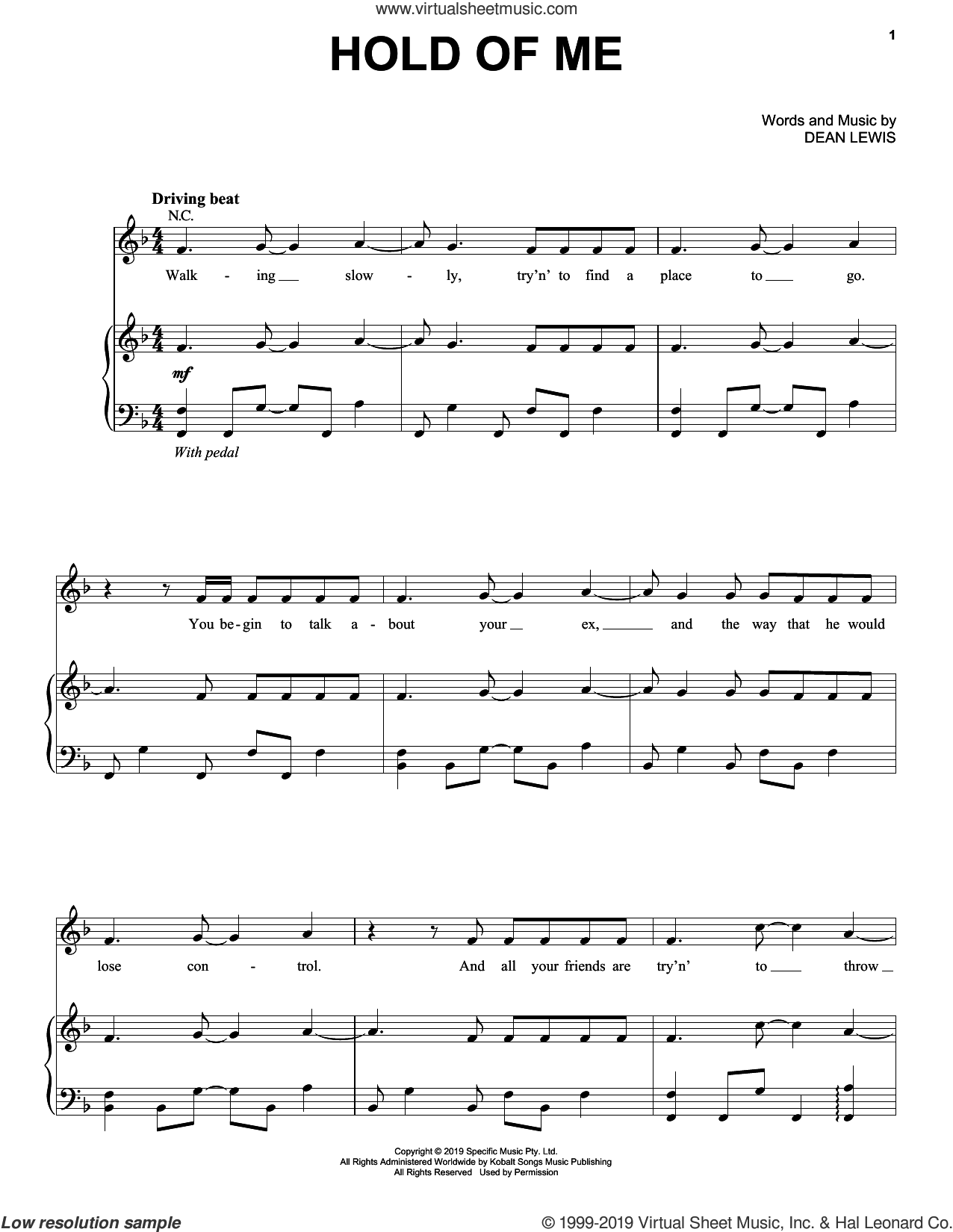 Hold Of Me sheet music for voice, piano or guitar by Dean Lewis, intermediate skill level