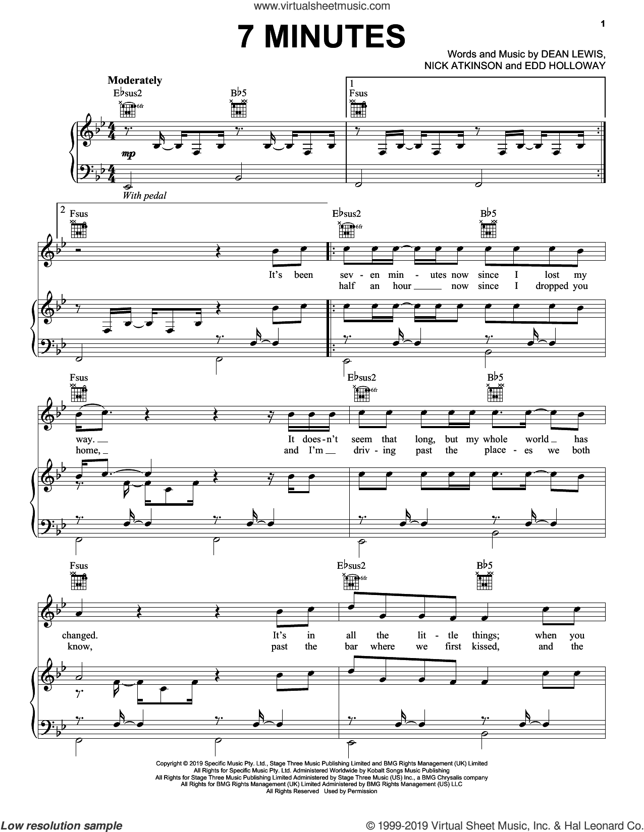 7 Minutes sheet music for voice, piano or guitar by Dean Lewis, Edd Holloway and Nick Atkinson, intermediate skill level
