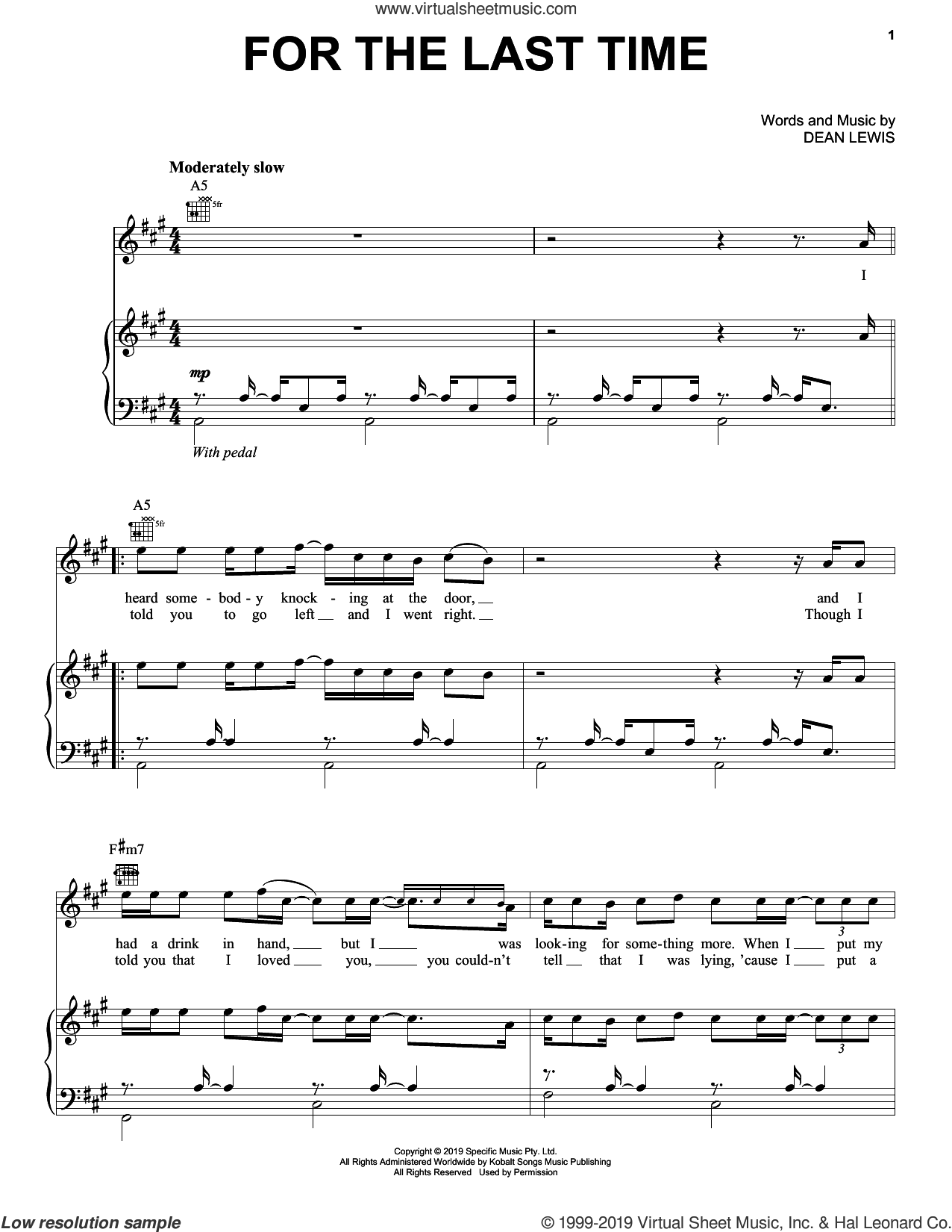For The Last Time sheet music for voice, piano or guitar by Dean Lewis, intermediate skill level