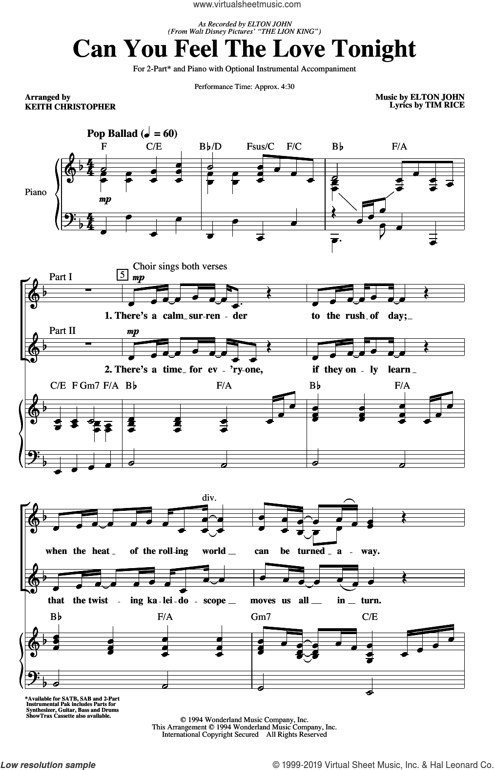 Can You Feel The Love Tonight (from The Lion King) (arr. Keith Christopher) sheet music for choir (SATB: soprano, alto, tenor, bass) by Elton John, Keith Christopher and Tim Rice, intermediate skill level