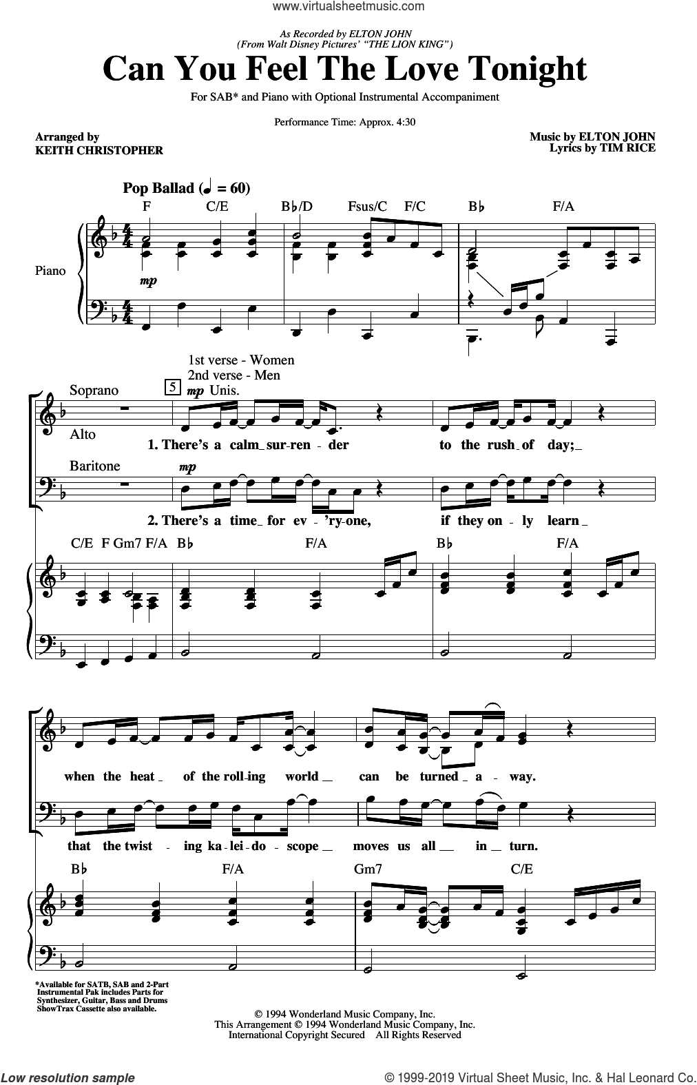 Can You Feel The Love Tonight (from The Lion King) (arr. Keith Christopher) sheet music for choir (SAB: soprano, alto, bass) by Elton John, Keith Christopher and Tim Rice, intermediate skill level