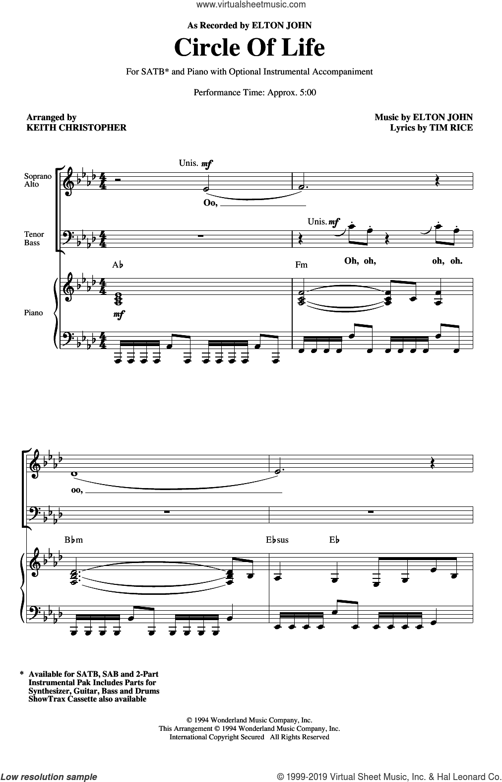 Circle Of Life (from The Lion King) (arr. Keith Christopher) sheet music for choir (SATB: soprano, alto, tenor, bass) by Elton John, Keith Christopher and Tim Rice, intermediate skill level
