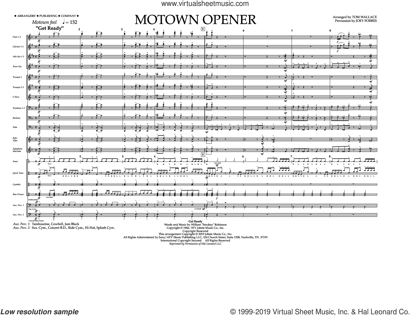 Motown Theme Show Opener (arr. Tom Wallace) (COMPLETE) sheet music for marching band by Tom Wallace and Miscellaneous, intermediate skill level