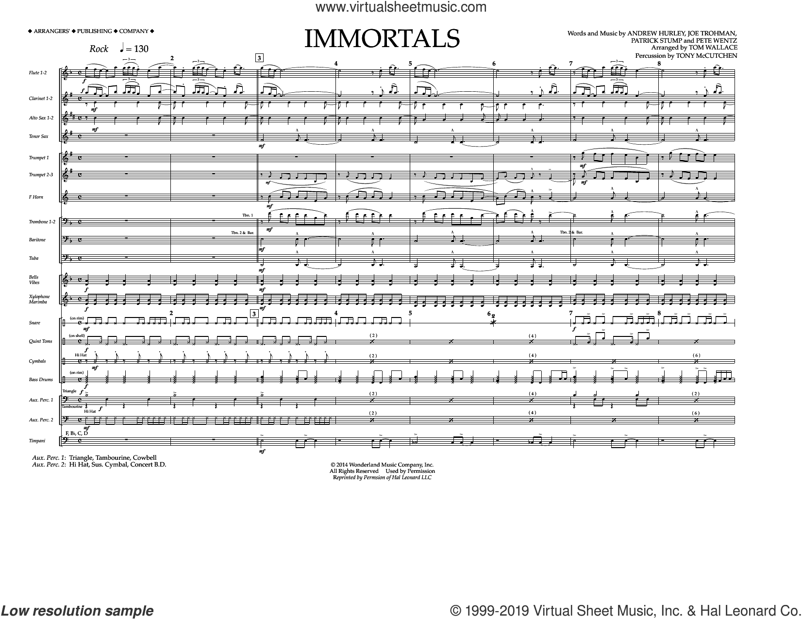 Immortals (from Big Hero 6) (arr. Tom Wallace) (COMPLETE) sheet music for marching band by Fall Out Boy, Andrew Hurley, Joe Trohman, Patrick Stump, Pete Wentz and Tom Wallace, intermediate skill level