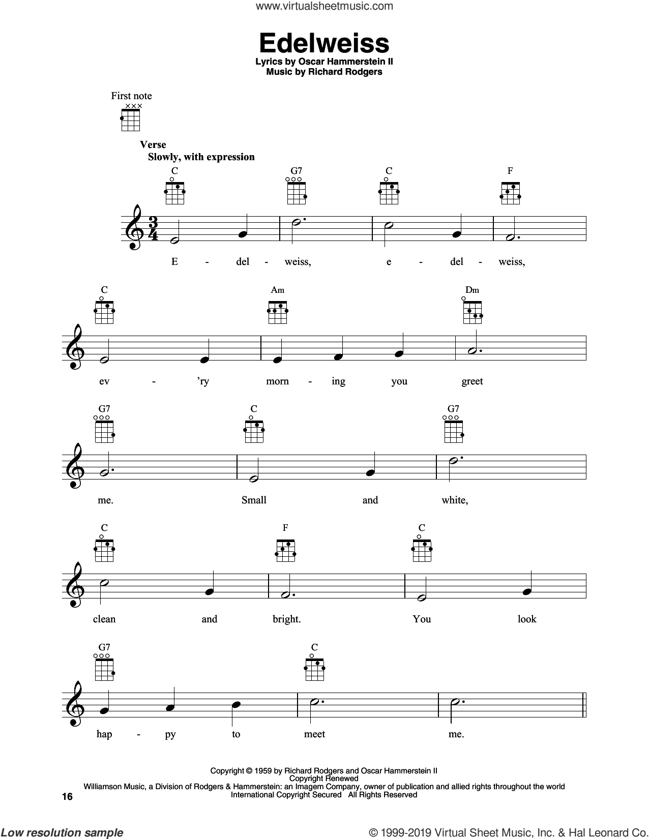 Edelweiss sheet music for banjo solo by Rodgers & Hammerstein, Oscar II Hammerstein and Richard Rodgers, intermediate skill level